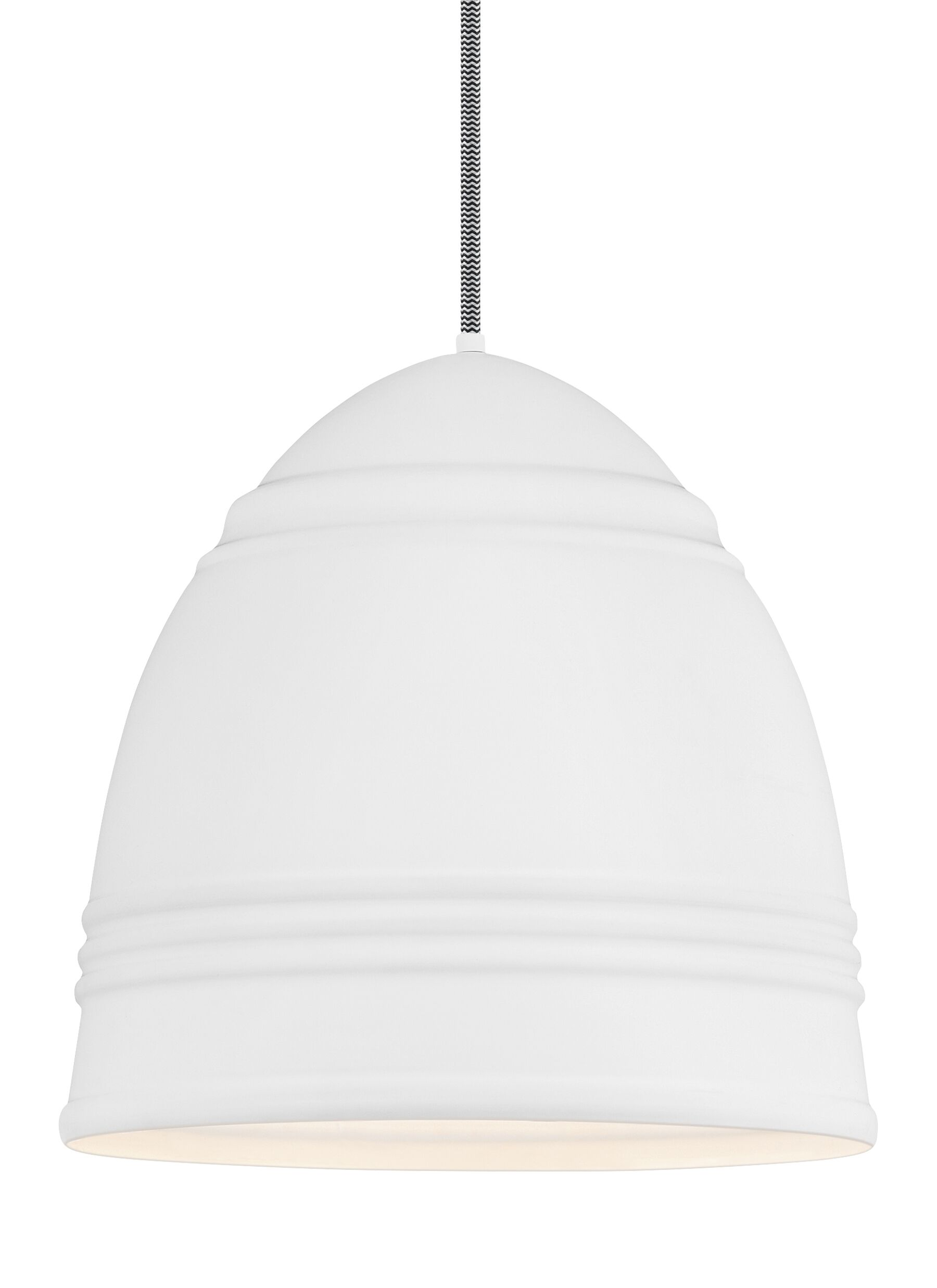 Else 3-Light Bell Pendant Shade Color: Rubberized White/White Interior
