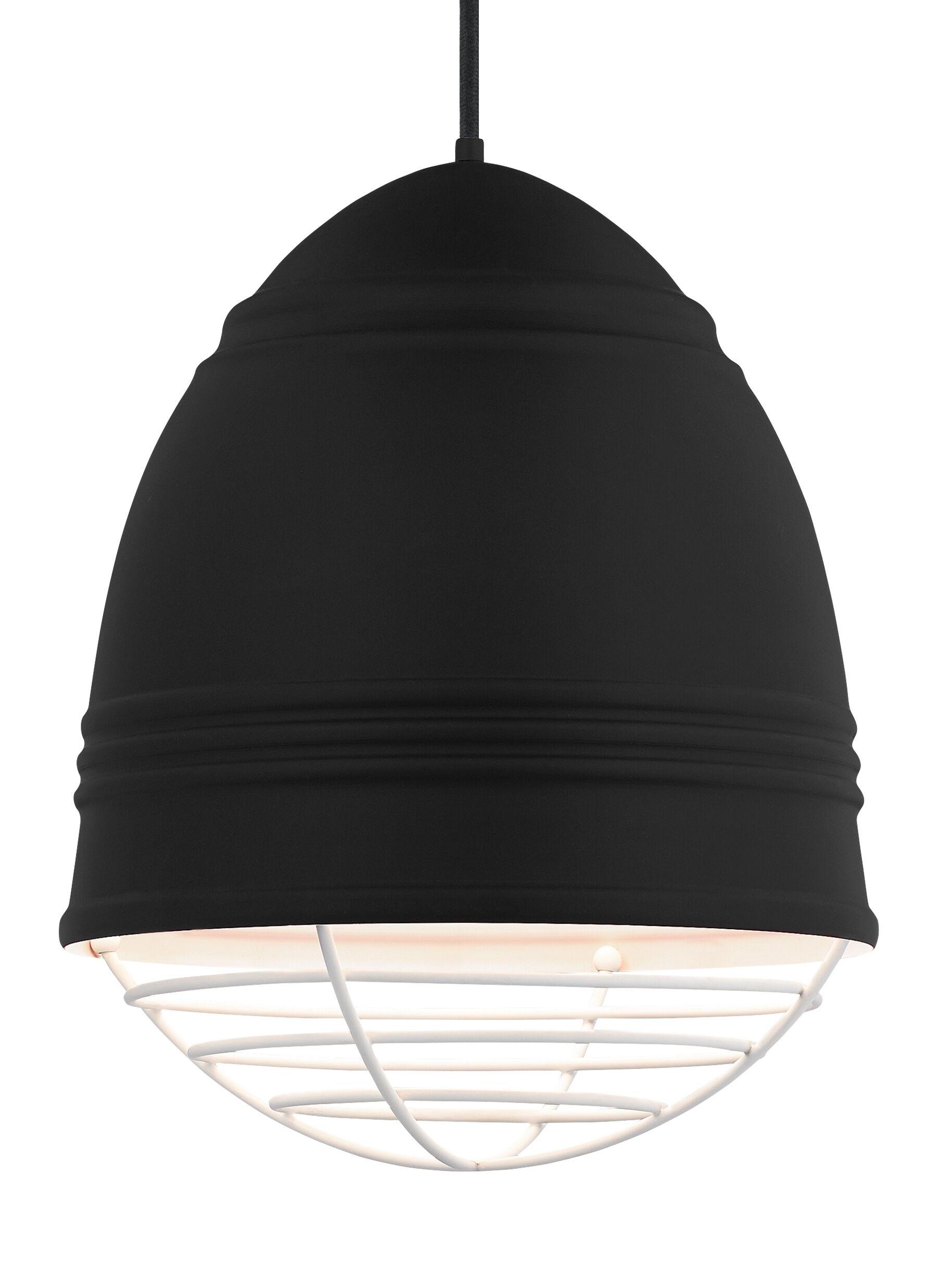Else 3-Light Bell Pendant Finish: White, Shade Color: Rubberized Black/White Interior
