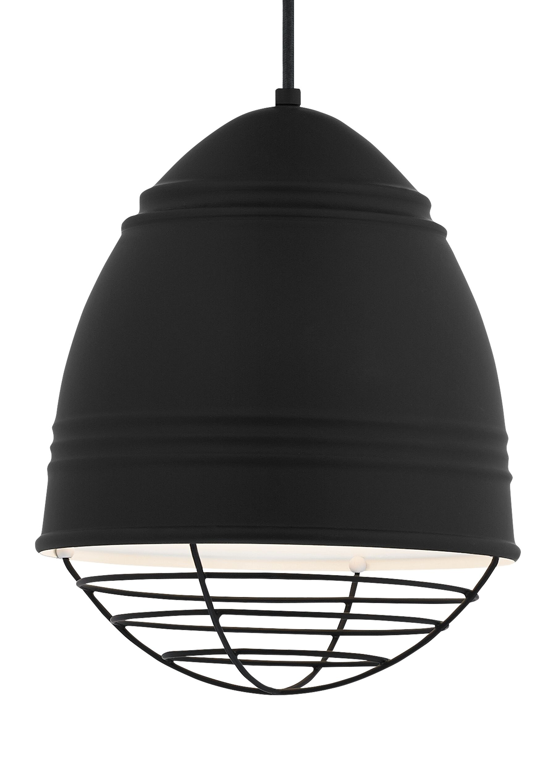 Else 1-Light Bell Pendant Finish: Black, Shade Color: Rubberized Black/White Interior