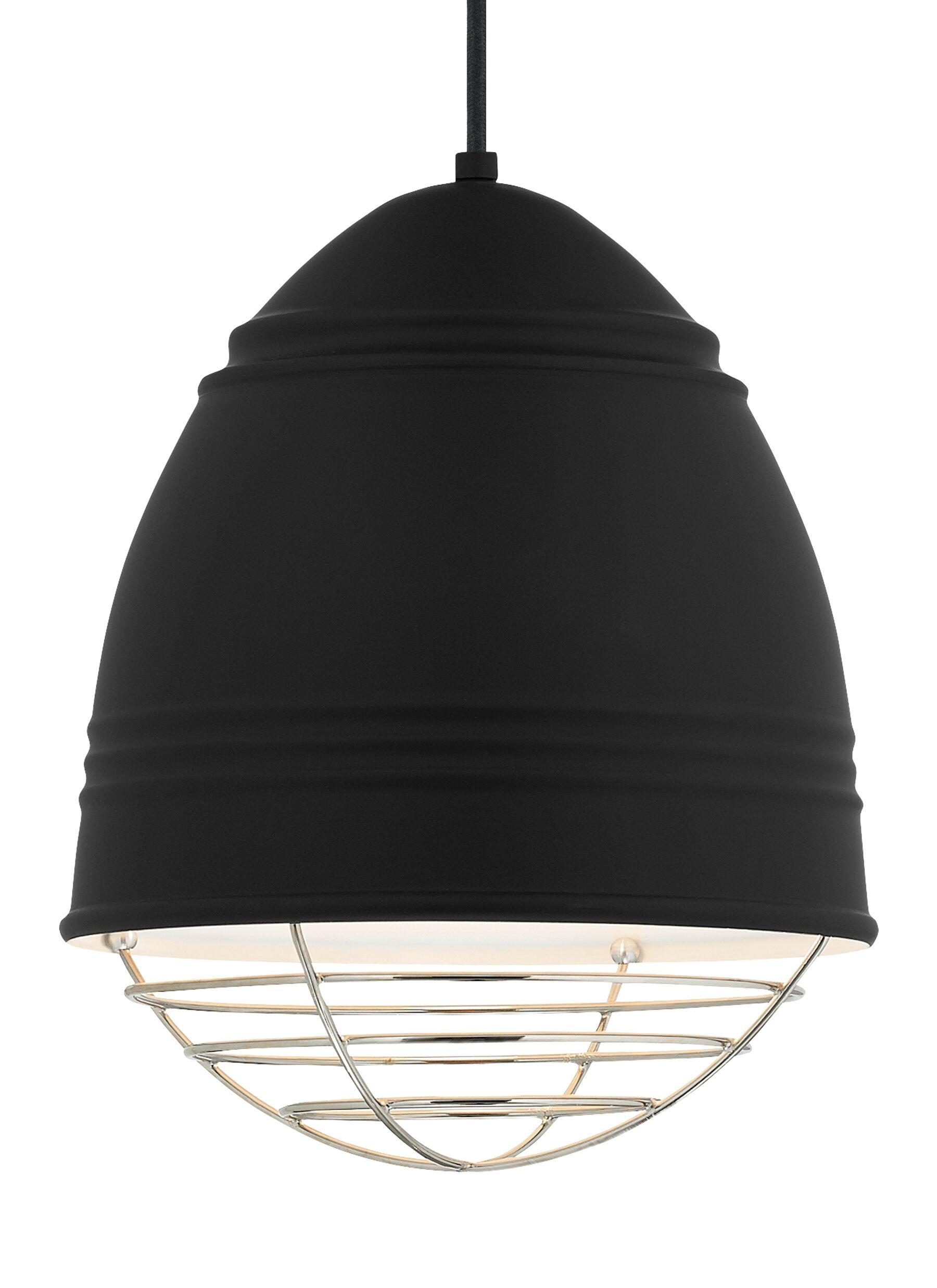 Else 1-Light Bell Pendant Finish: Polished Nickel, Shade Color: Rubberized Black/White Interior