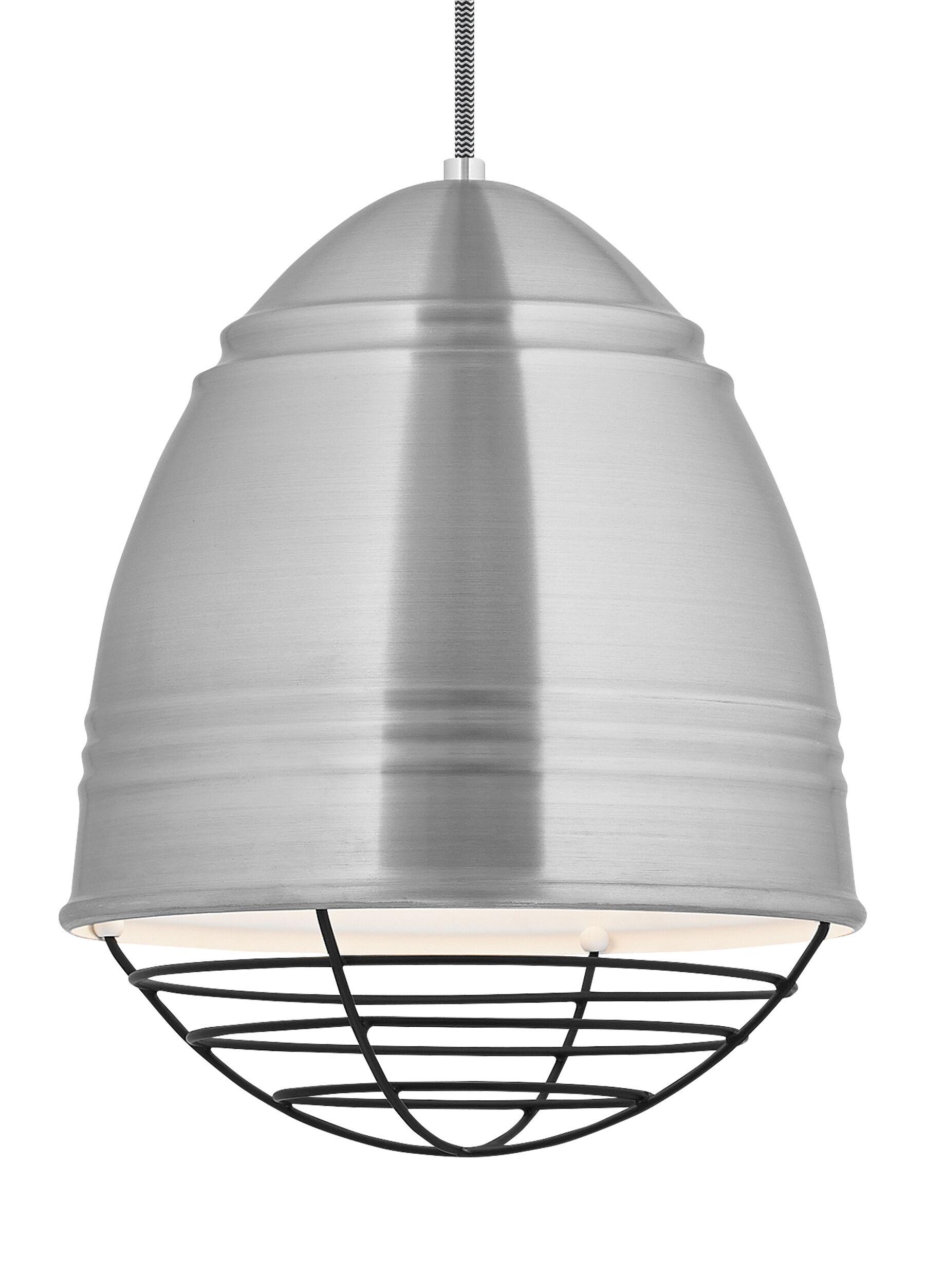 Else 1-Light Bell Pendant Finish: Black, Shade Color: Brushed Aluminum/White Interior