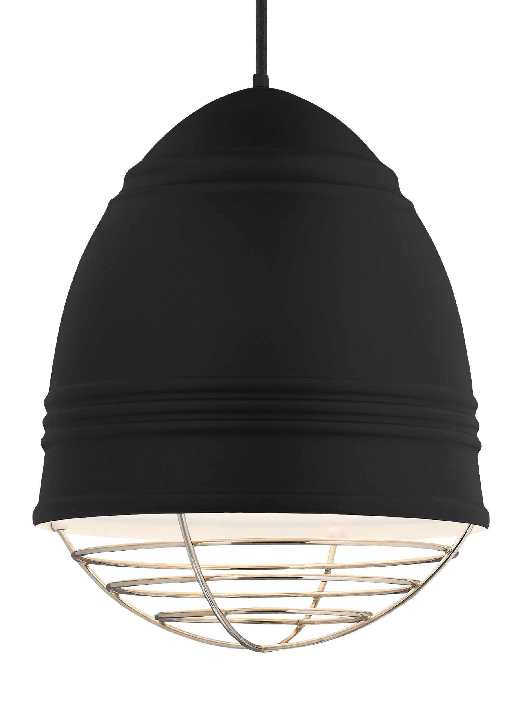 Else 3-Light Bell Pendant Finish: Polished Nickel, Shade Color: Rubberized Black/White Interior