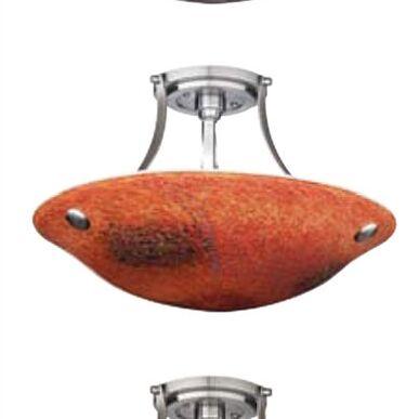 Veneto 3 Light Bowl Pendant Shade Color: Red, Finish: Satin Nickel, Bulb Type: Incandescent