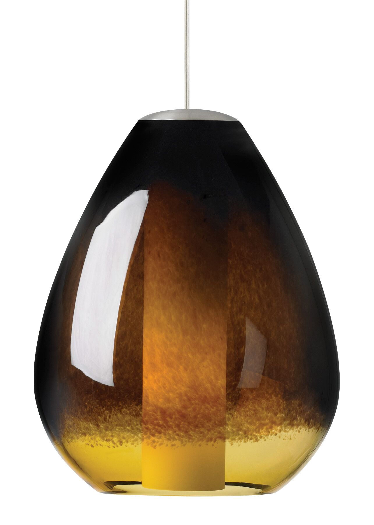Sora 1-Light Teardrop Pendant Shade Color: Ivory-Brown, Finish: Bronze, Bulb Type: Incandescent