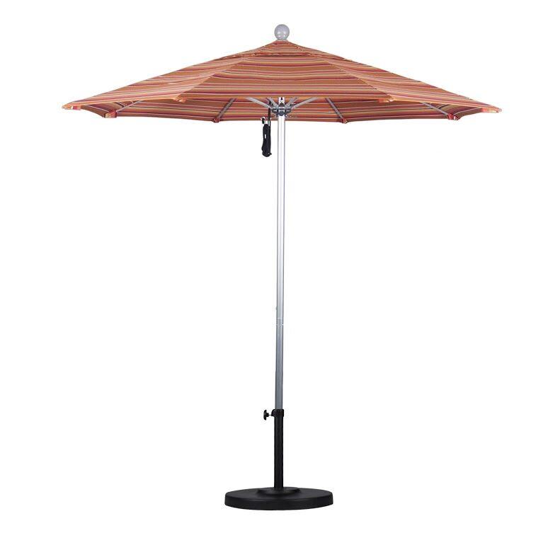 7.5' Market Umbrella Color: Seville Seaside, Frame Finish: White
