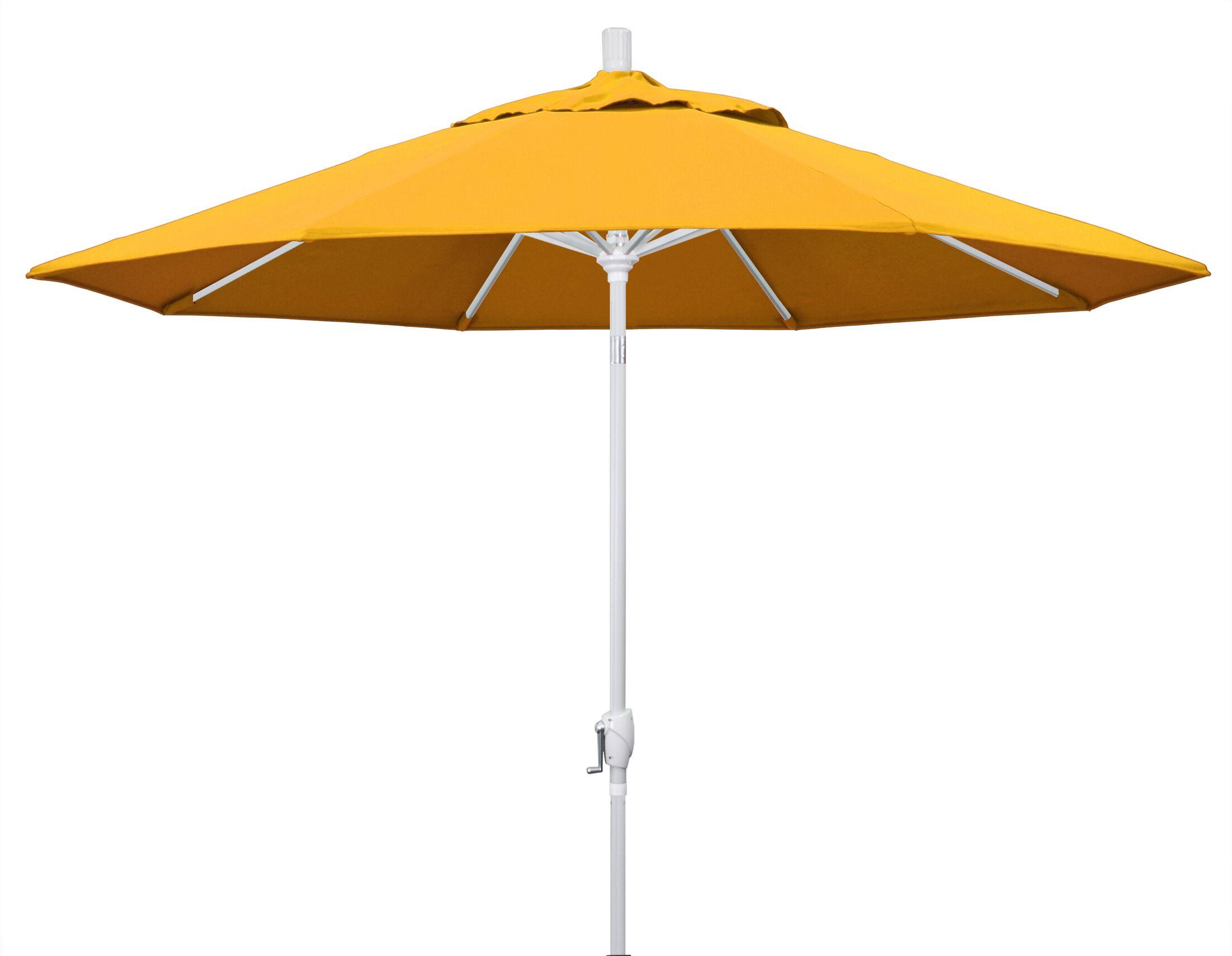 Cello 9' Market Umbrella Fabric: Yellow, Frame Finish: Matted White