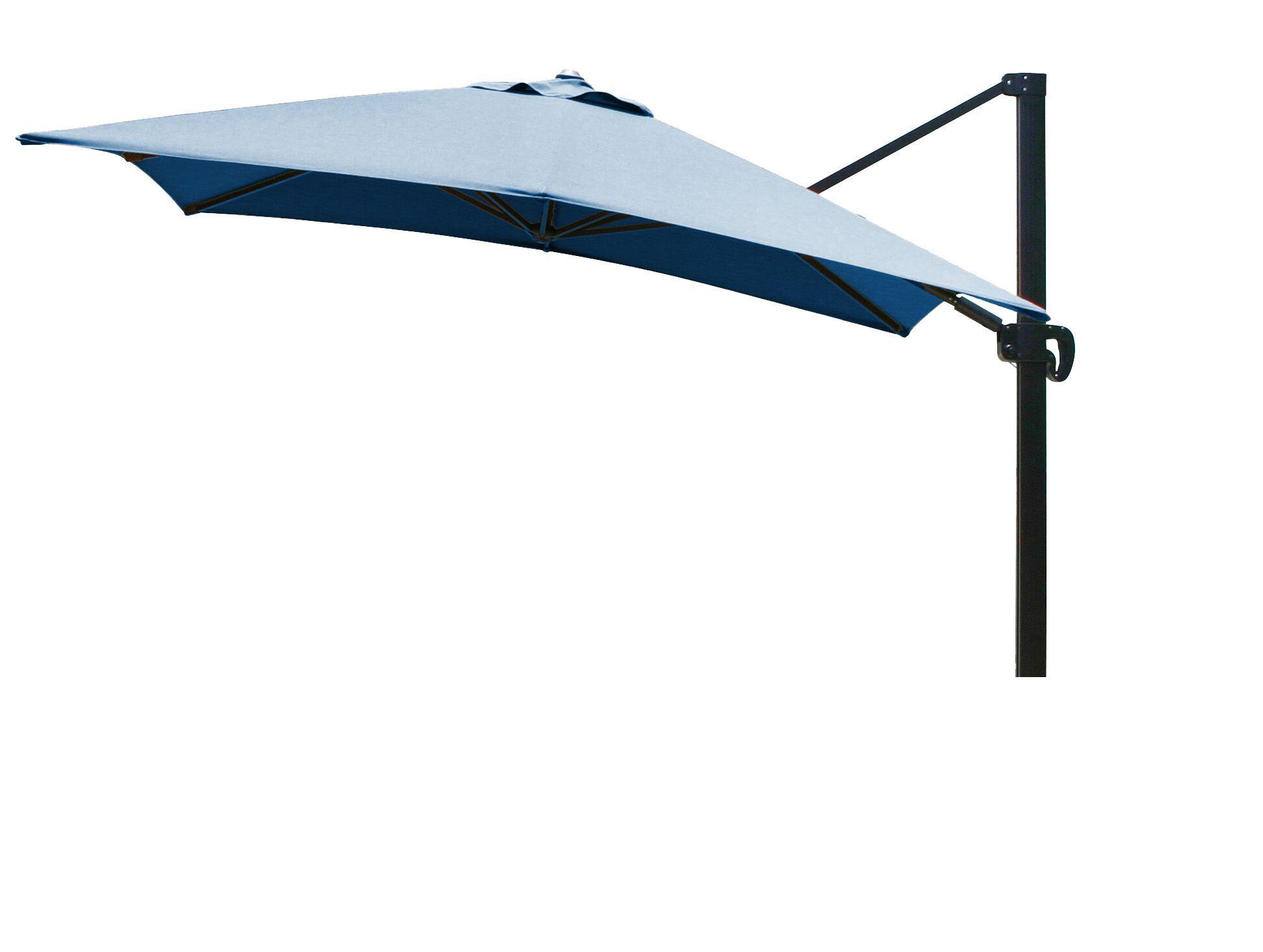 10' Square Cantilever Umbrella Fabric: Sunbrella A Pacific Blue, Color: Bronze