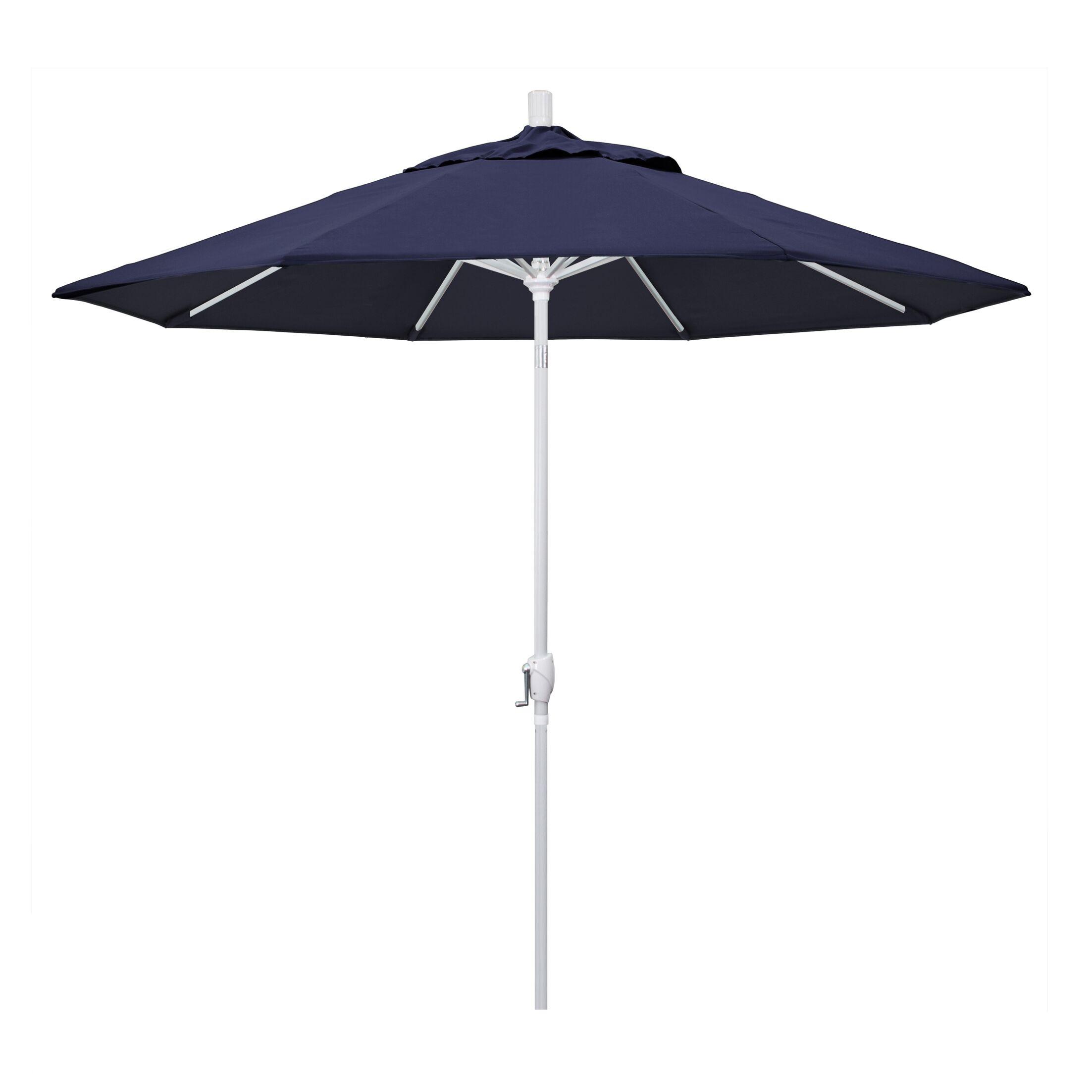 Cello 9' Market Umbrella Frame Finish: Matted White, Fabric: Navy