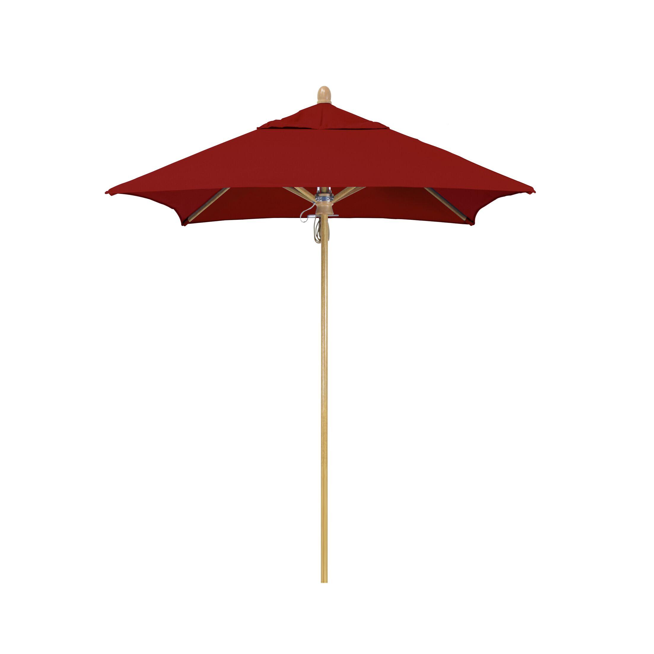 Sierra Series Patio 6' Market Umbrella Fabric Color: Red, Frame Color: White Oak