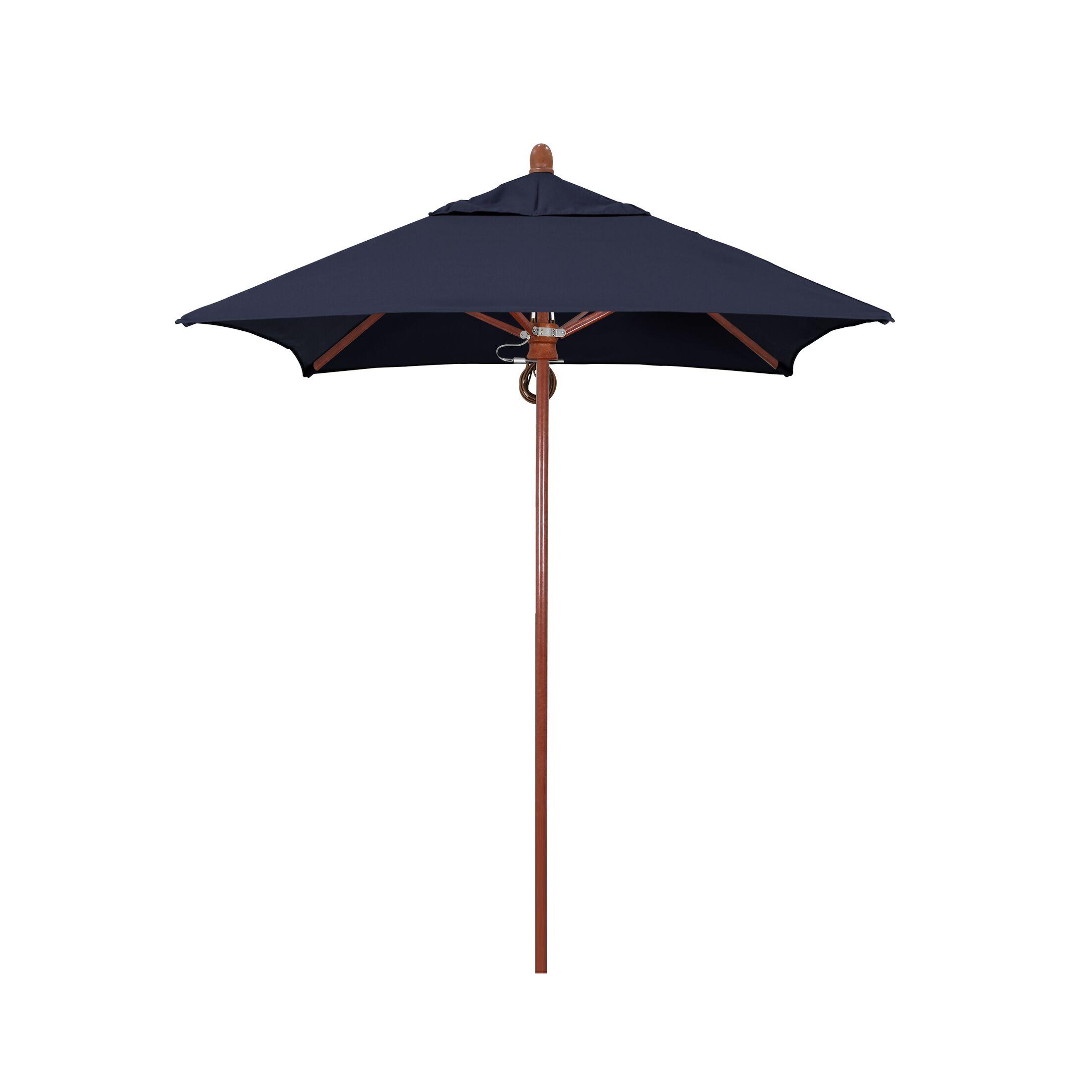 Sierra Series Patio 6' Market Umbrella Fabric Color: Navy, Frame Color: Red Oak