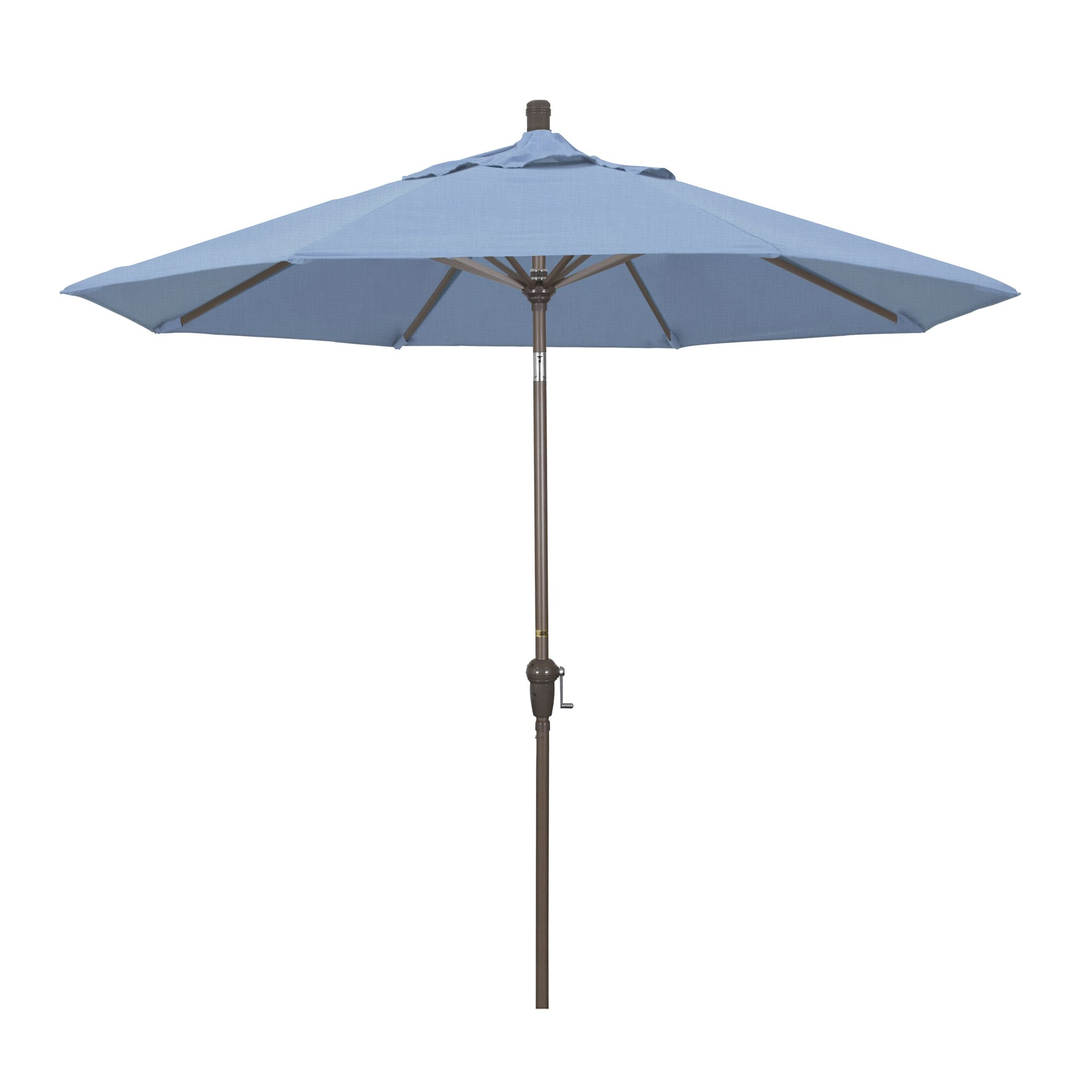 Mullaney 9' Market Umbrella Fabric: Sunbrella - Taupe, Frame Color: Champagne
