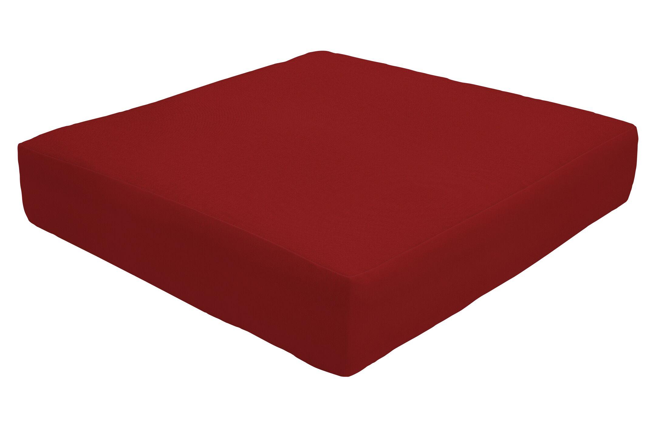 Double Piped Indoor/Outdoor Sunbrella Ottoman Cushion Fabric: Jockey Red, Size: 5