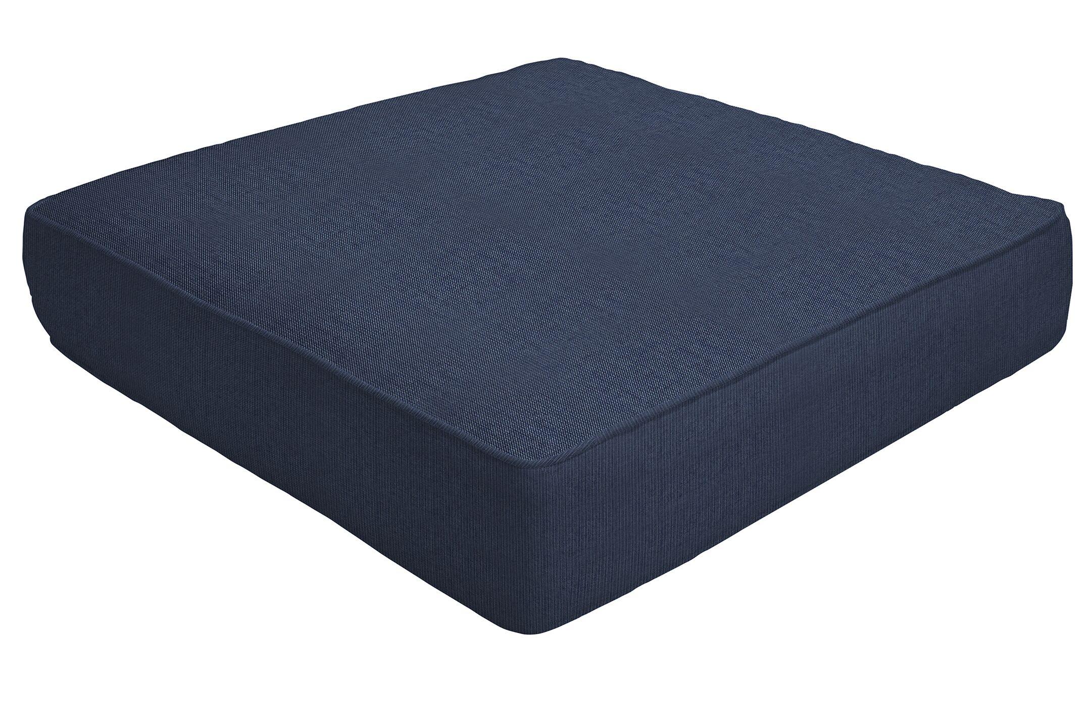 Double Piped Indoor/Outdoor Sunbrella Ottoman Cushion Fabric: Indigo, Size: 5