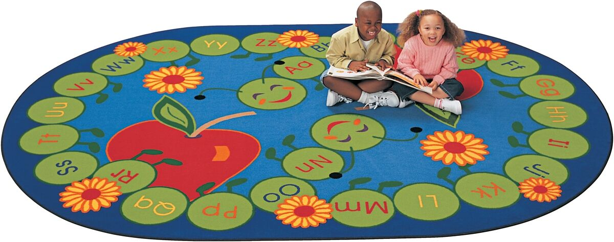 Literacy ABC Caterpillar Kids Area Rug Rug Size: Oval 8'3