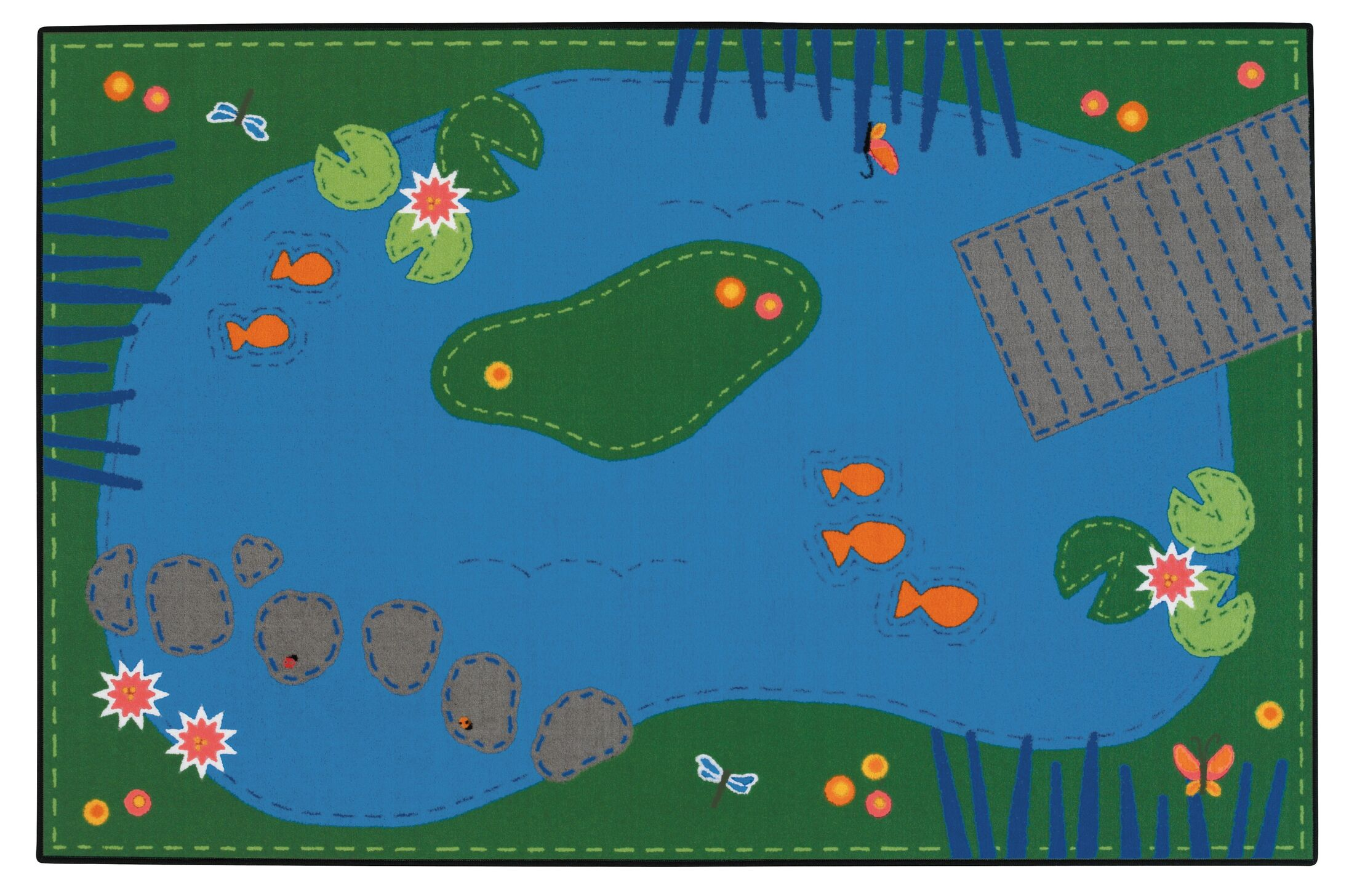 Value Plus Tranquil Pond Area Rug Rug Size: 6' x 9'