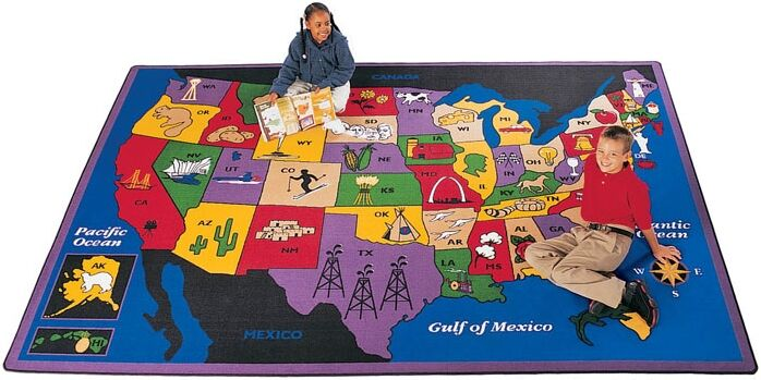 Geography Discover America Area Rug Rug Size: Rectangle 5'10