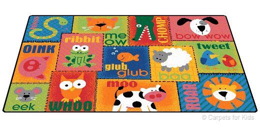 Emerado Animal Sounds Toddler Area Rug Rug Size: 4' x 6'