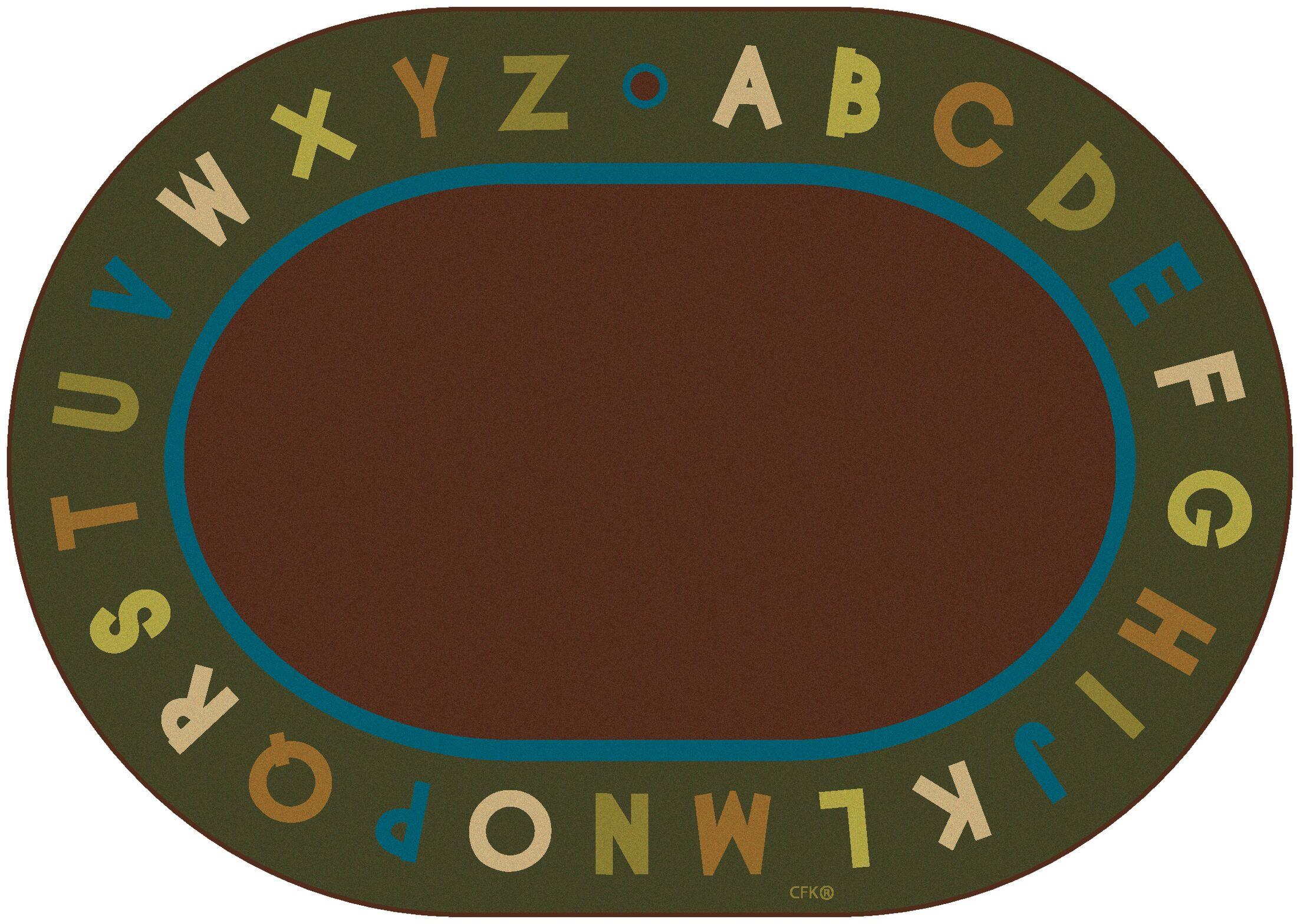 Emilion Brown / Green Alphabet Nature Area Rug Rug Size: Oval 8'3