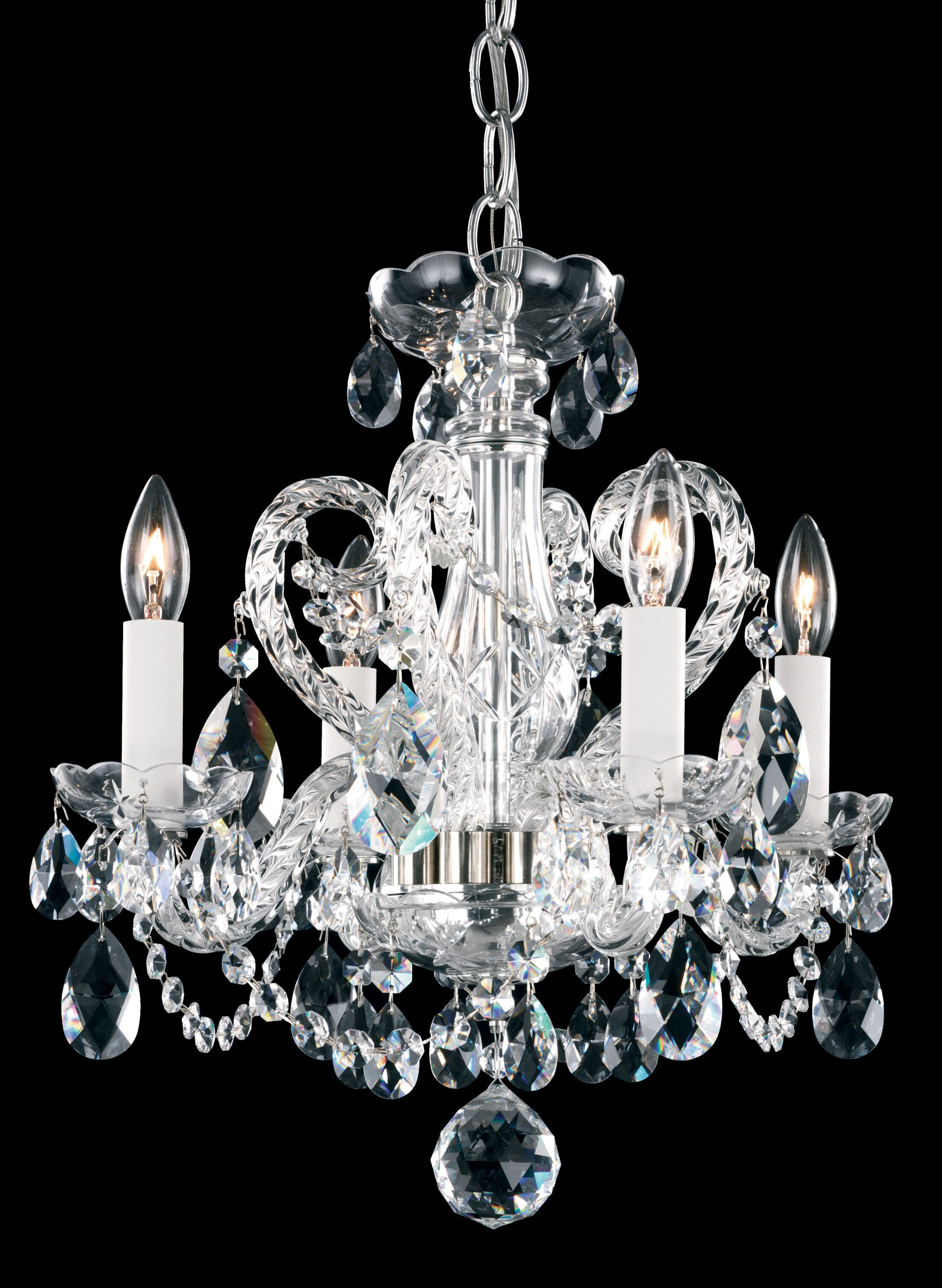 Novielle 4-Light Candle Style Chandelier Crystal Type: Spectra Clear, Finish: Polished Silver