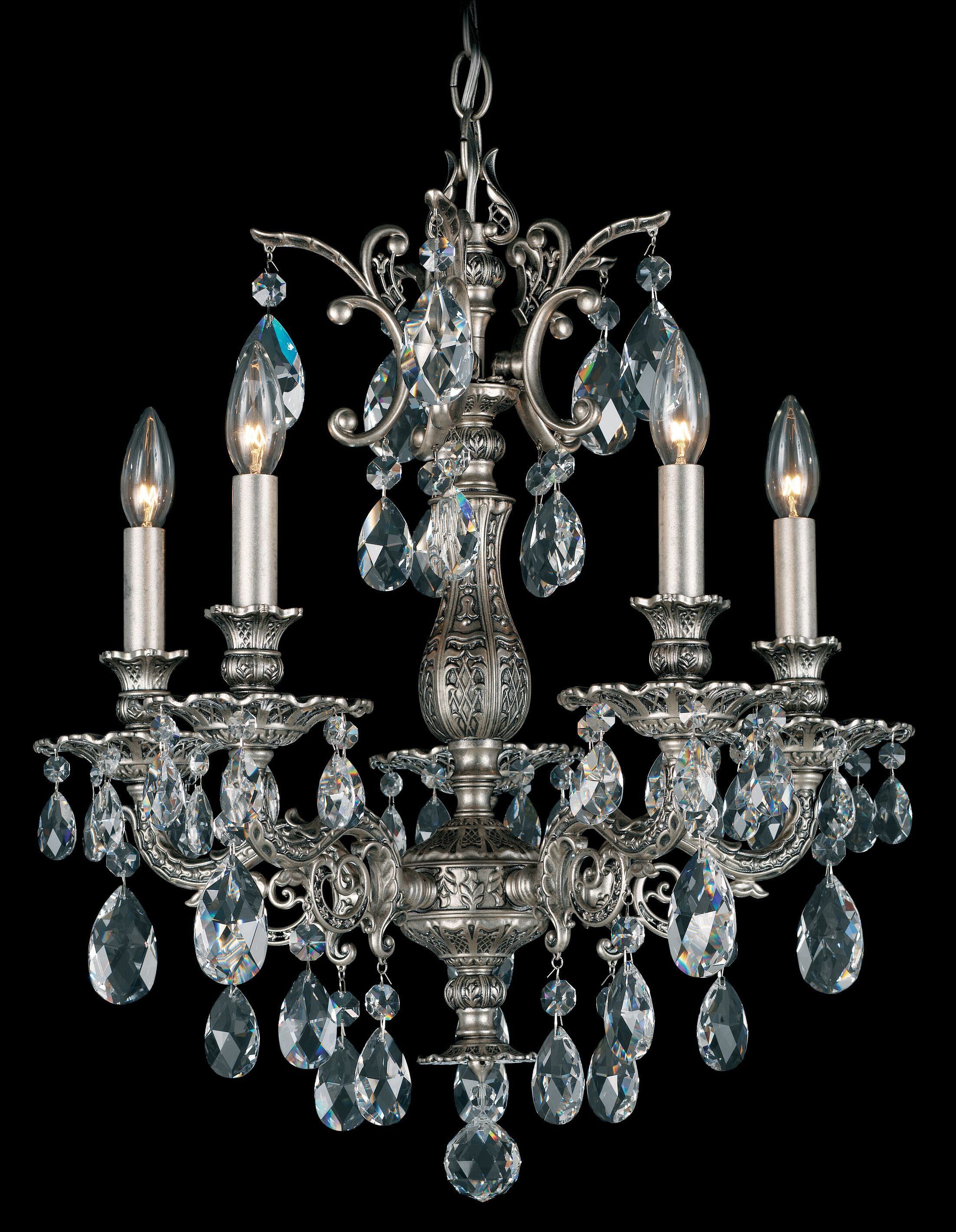 Milano 5-Light Chandelier Finish: Antique Silver, Crystal Color: Strass Clear