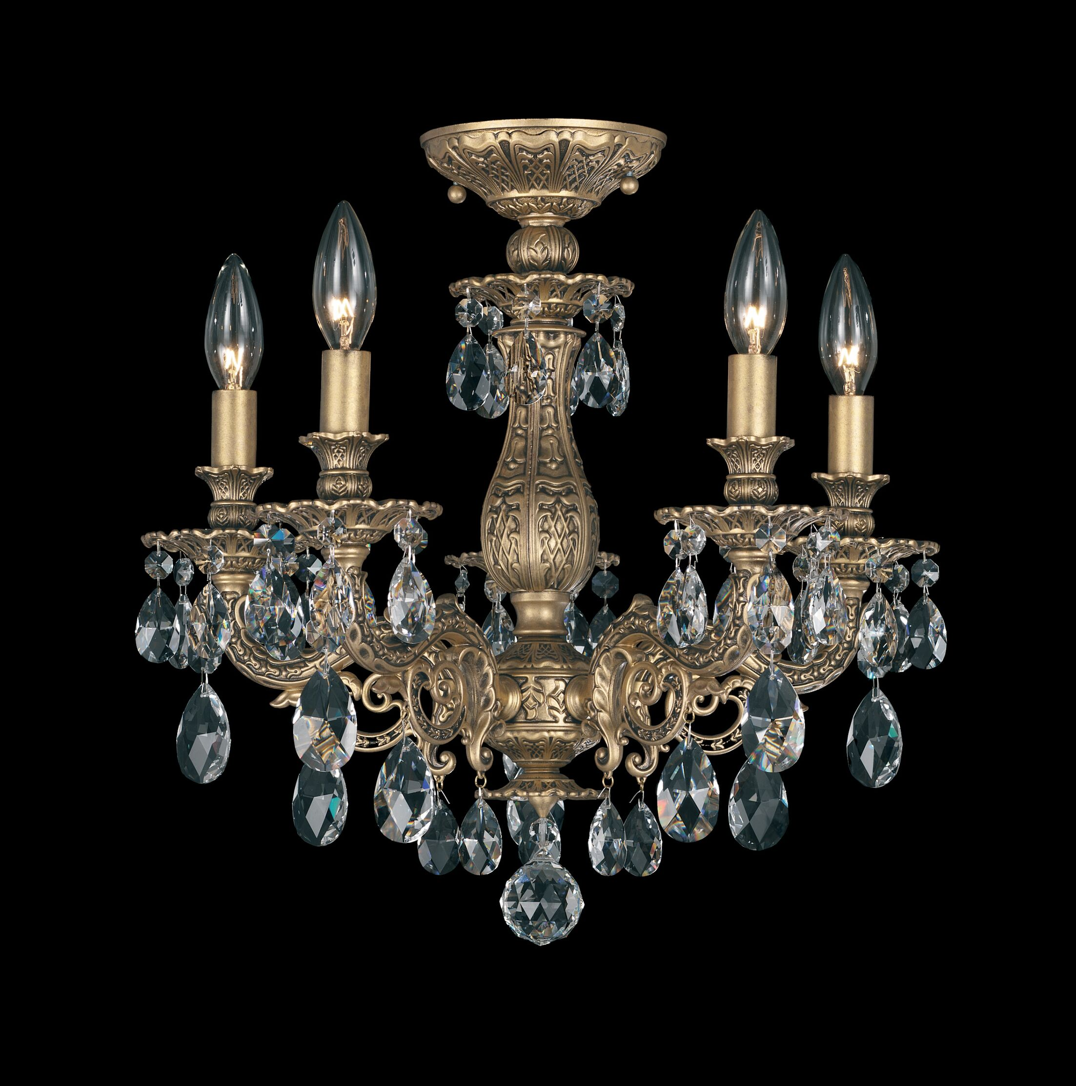 Milano 5-Light Chandelier Finish: Parchment Gold, Crystal Grade: Optic Clear
