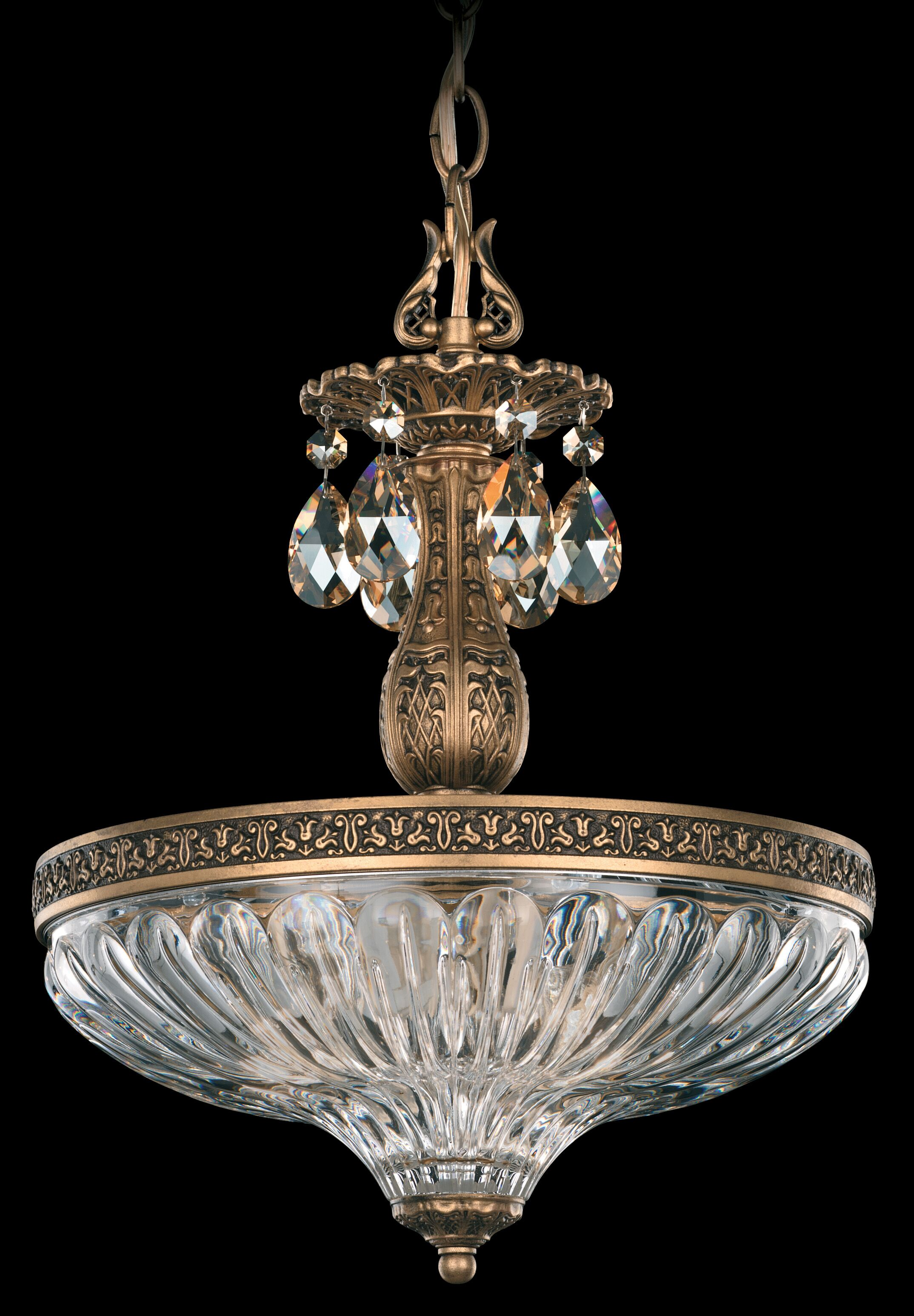 Milano 3-Light Bowl Pendant Crystal Type: Optic Handcut Clear, Finish: Parchment Gold