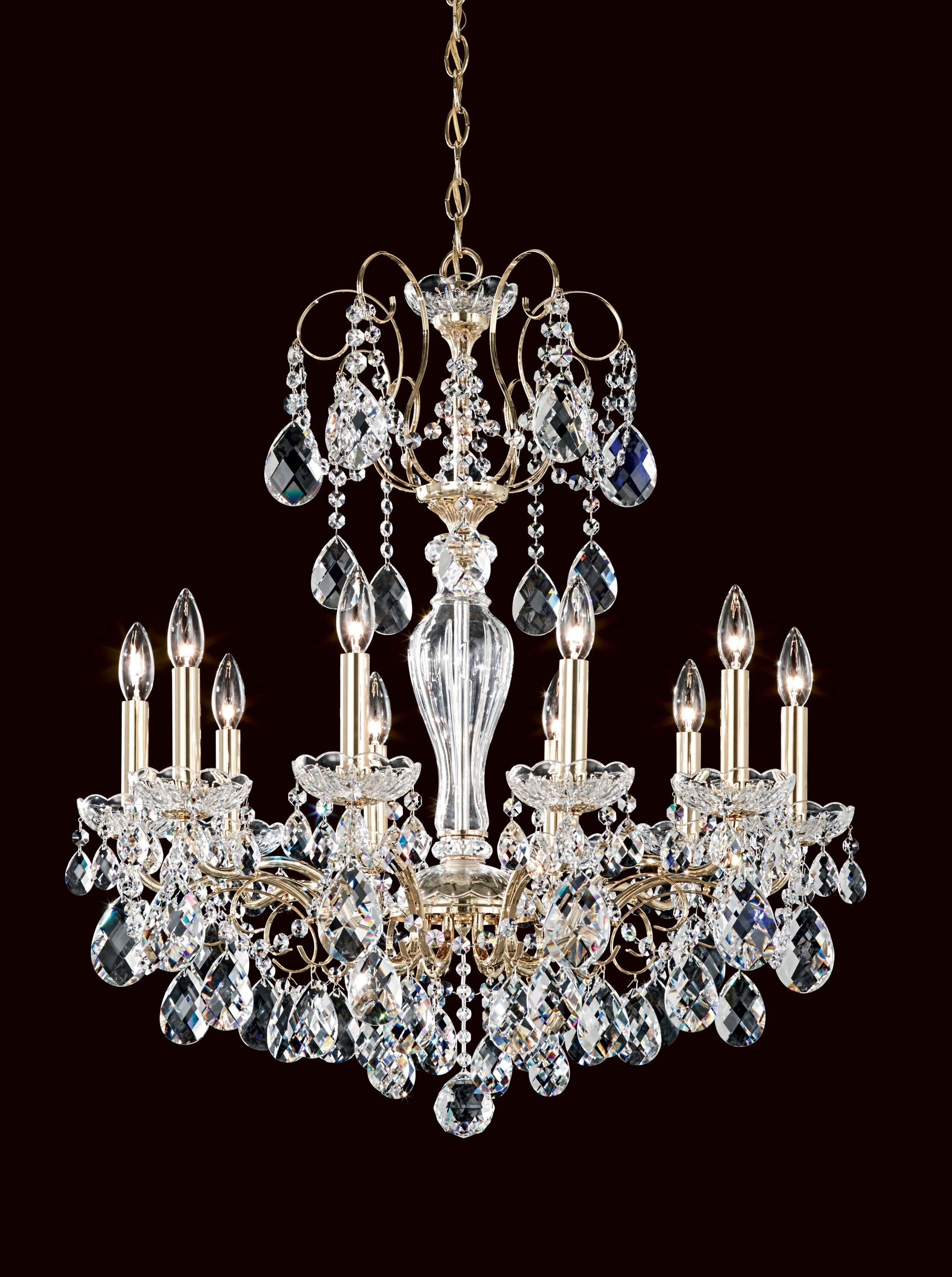 Sonatina 10-Light Chandelier Crystal Type: Heritage Handcut Clear, Finish: Heirloom Gold
