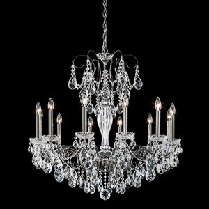 Sonatina 12-Light Candle Style Chandelier Crystal Type: Swarovski Elements Clear, Finish: Etruscan Gold