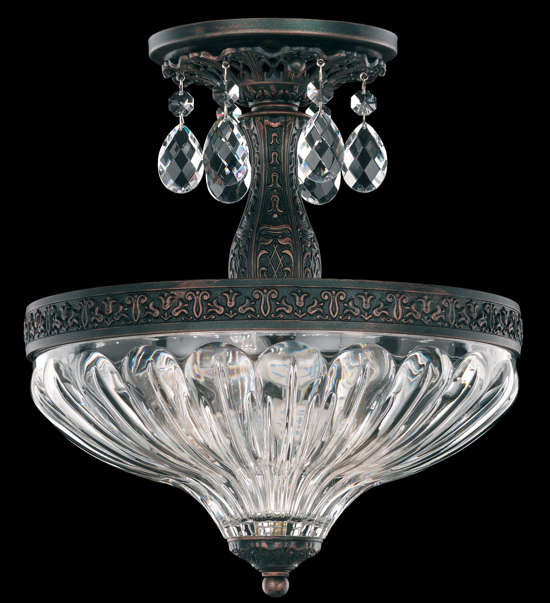 Milano 2-Light Semi Flush Mount Finish: French Gold, Crystal Grade: Optic Clear