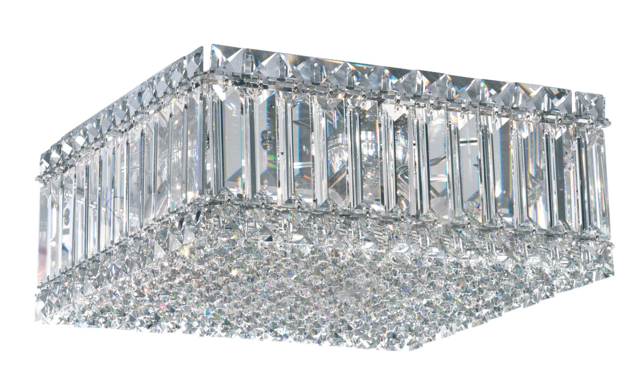 4-Light Flush Mount Crystal Type: Swarovski Elements Clear, Size: 6