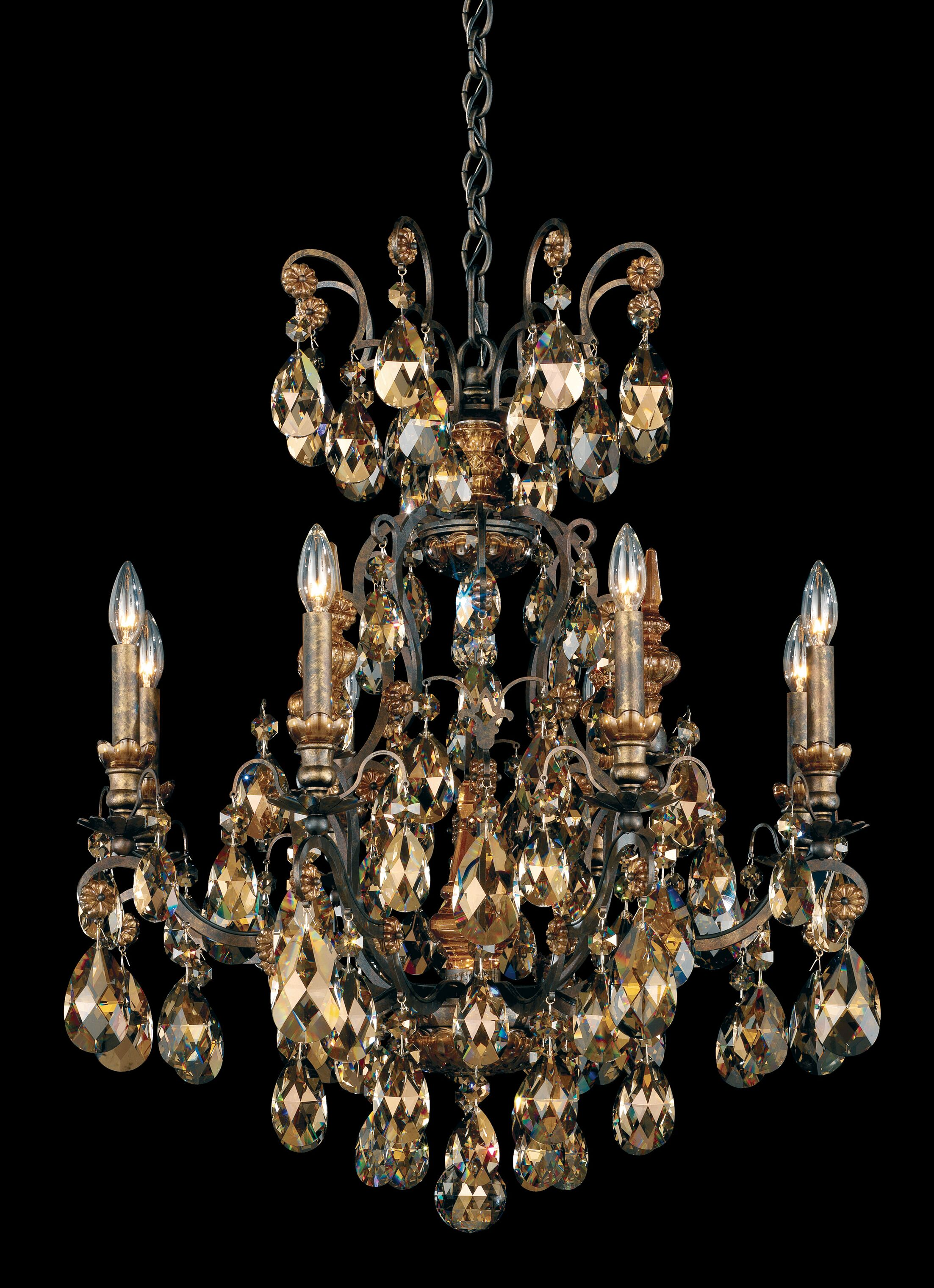 Renaissance 8-Light Chandelier Finish / Crystal Color: Antique Silver / Strass Golden Teak