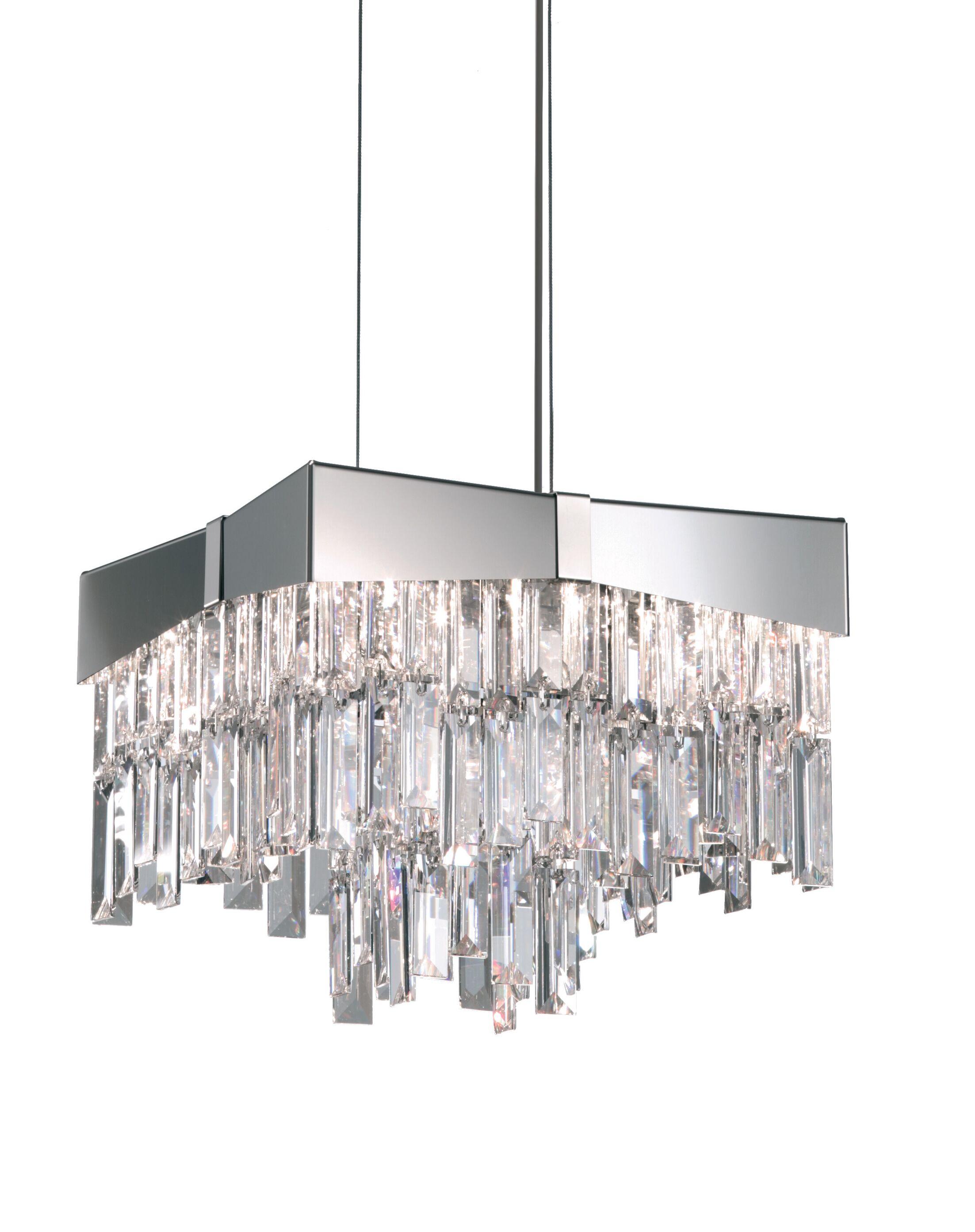 Riviera 4-Light Crystal Pendant Finish: Brushed Stainless Steel, Crystal Grade: Swarovski Elements
