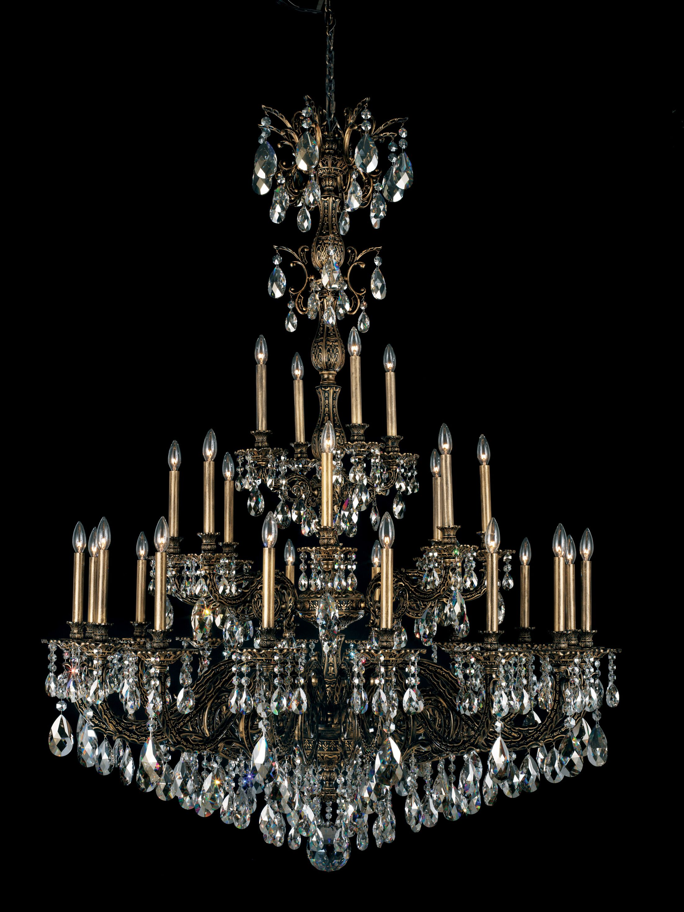 Milano 28-Light Chandelier Finish: Roman Silver, Crystal Color: Strass Golden Shadow
