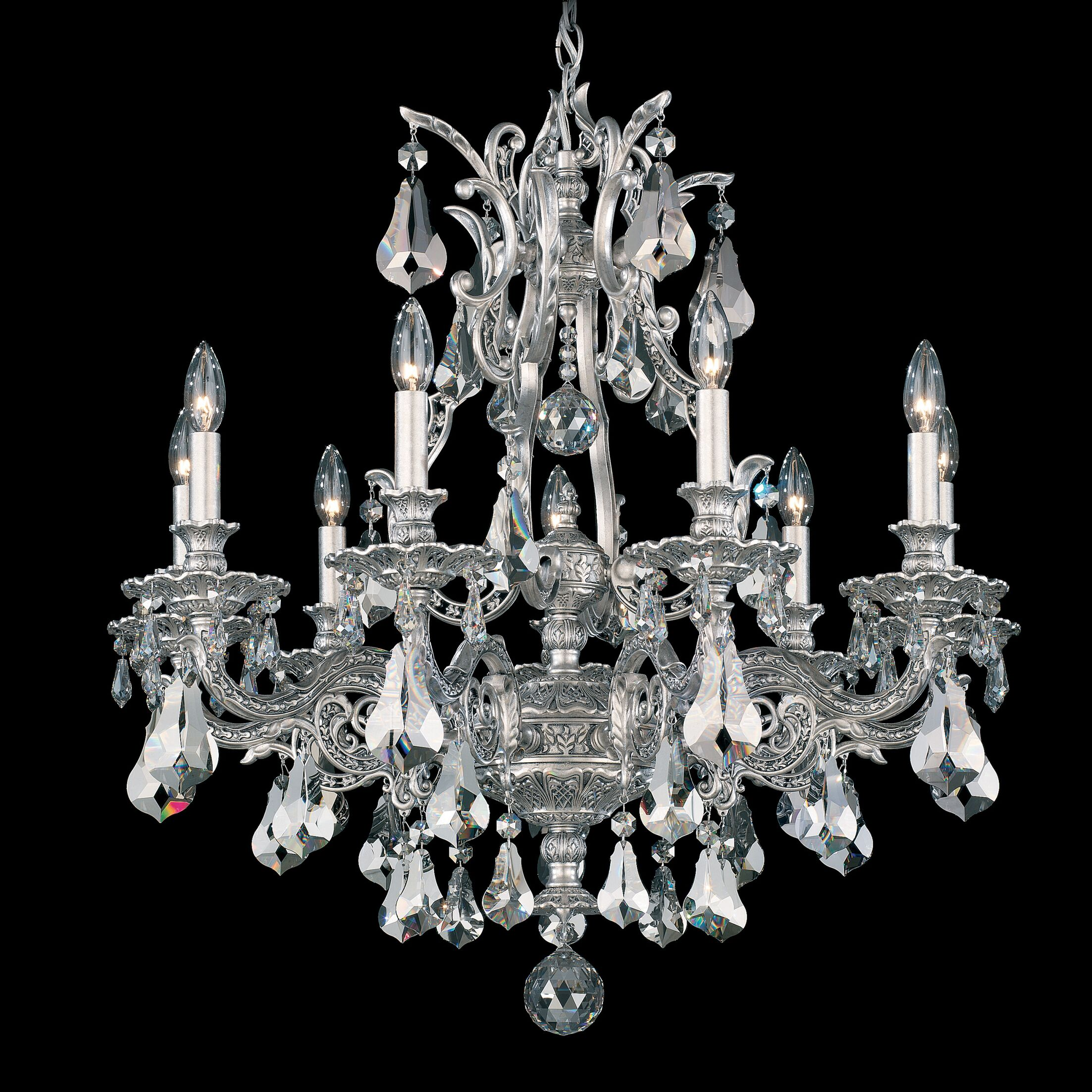 Sophia 9-Light Chandelier Crystal Type: Optic Handcut Clear, Finish: Antique Silver