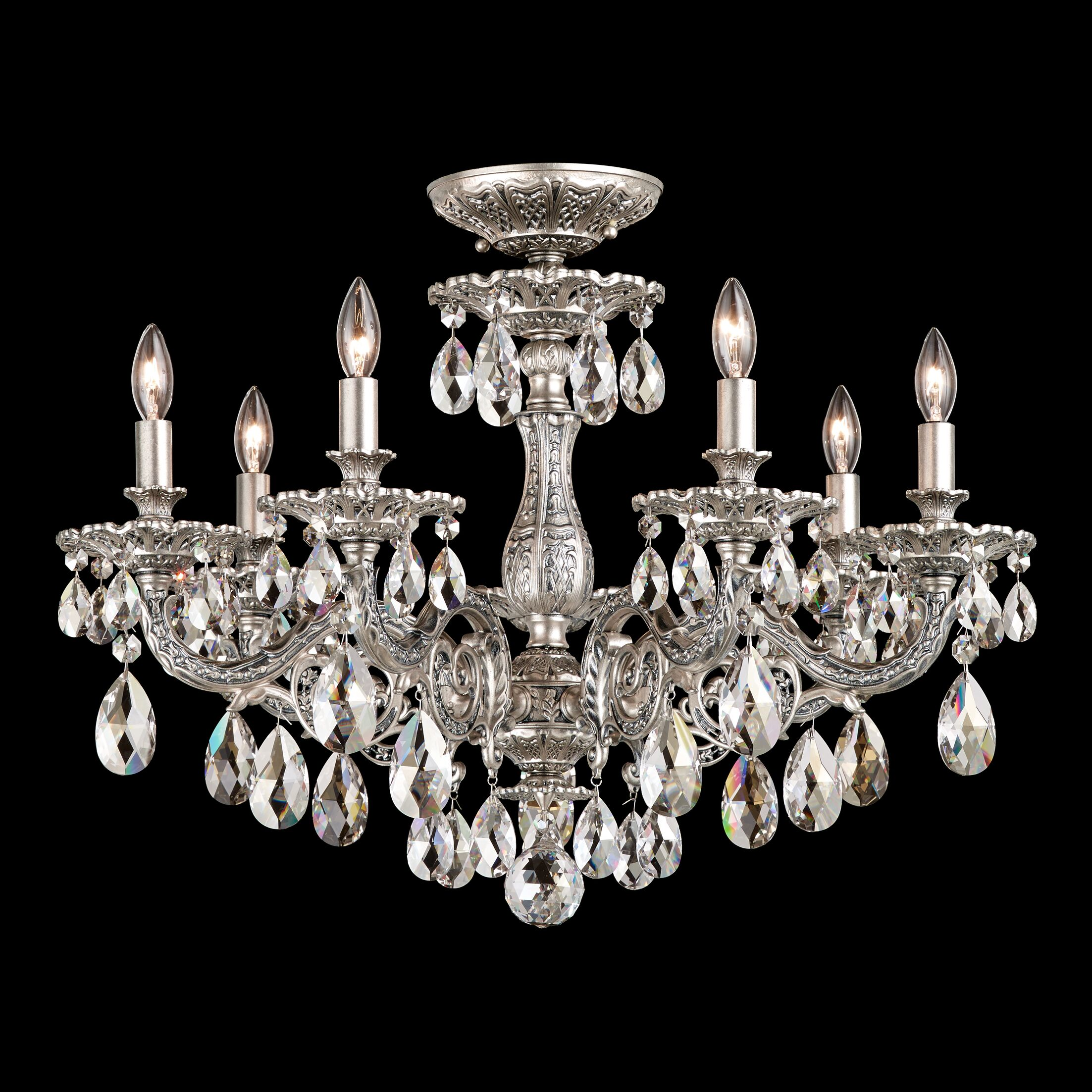 Milano 7-Light Semi Flush Mount Base Finish: Etruscan Gold, Crystal Grade: Clear Optic