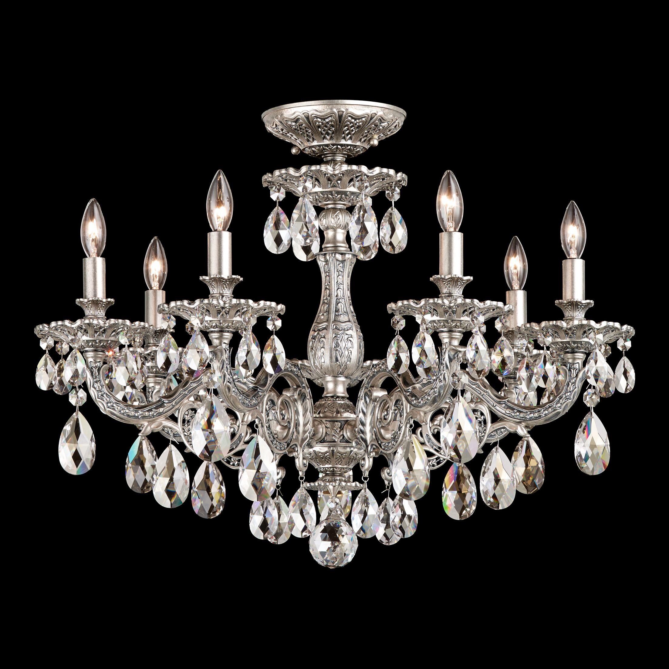 Milano 7-Light Semi Flush Mount Crystal Grade: Silver Shade from Swarovski, Base Finish: Etruscan Gold