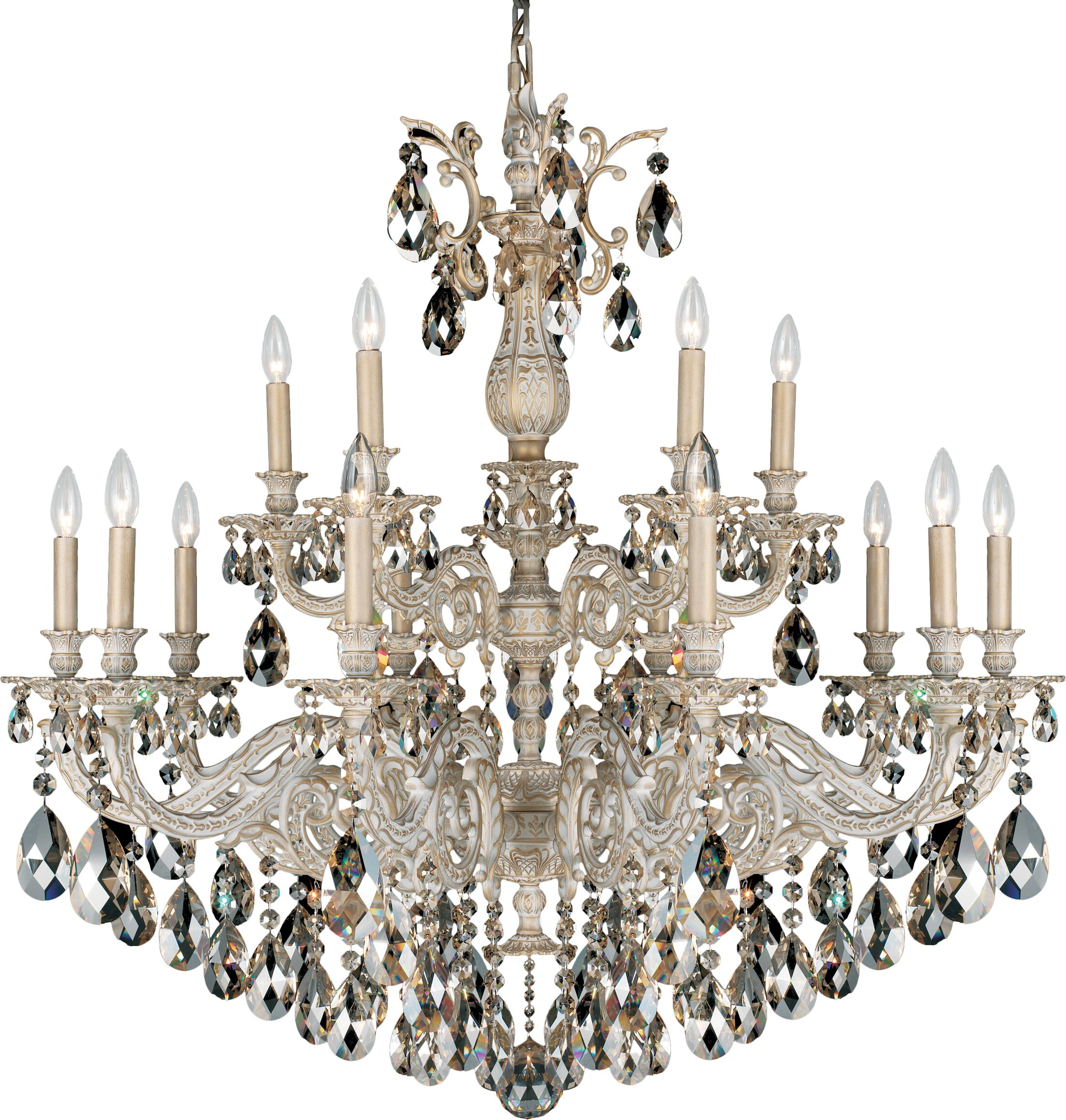 Milano 15-Light Chandelier Finish: French Gold, Crystal Color: Optic Clear