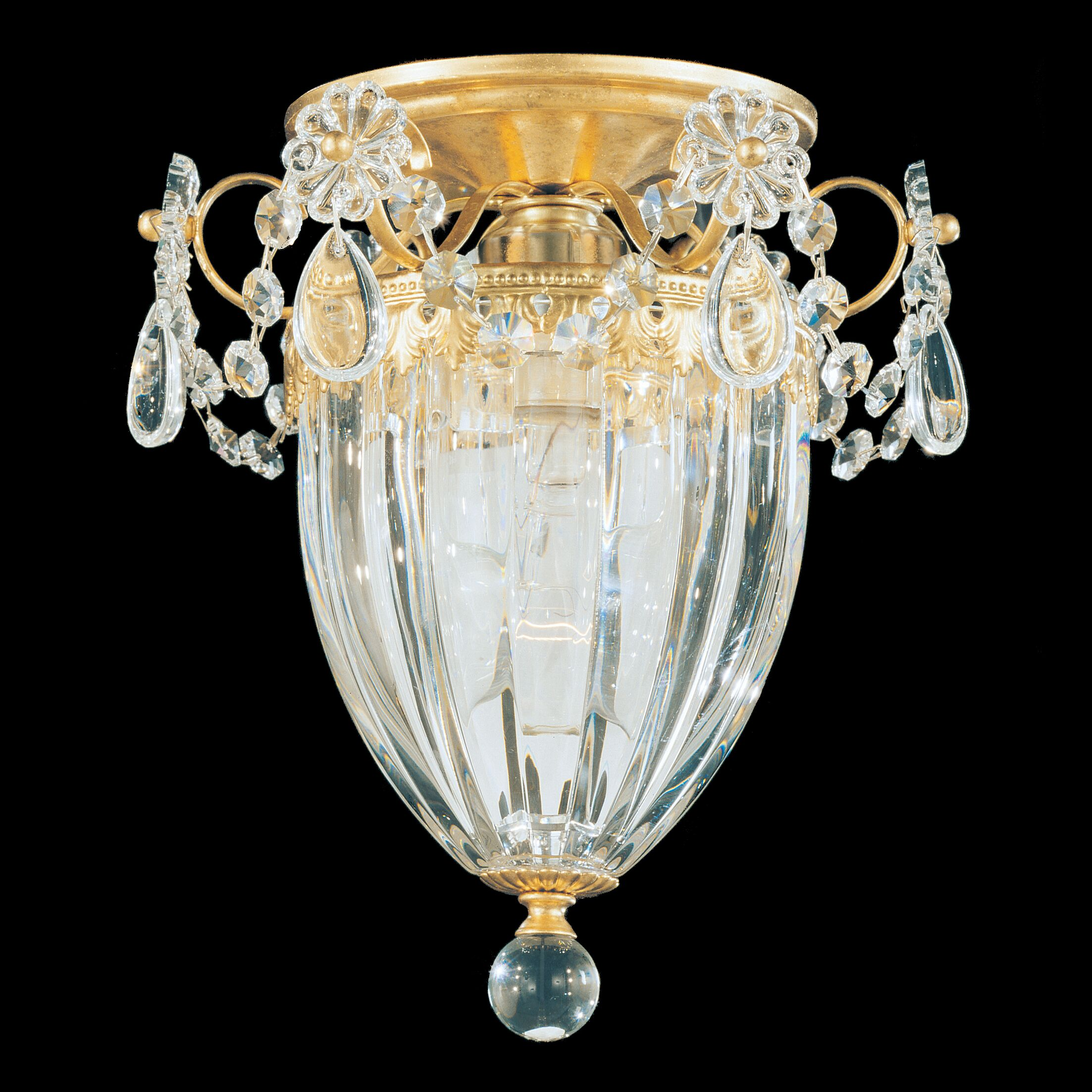 Bagatelle 1-Light Semi Flush Mount Finish: Antique Silver, Crystal: Heritage Handcut Crystal Clear