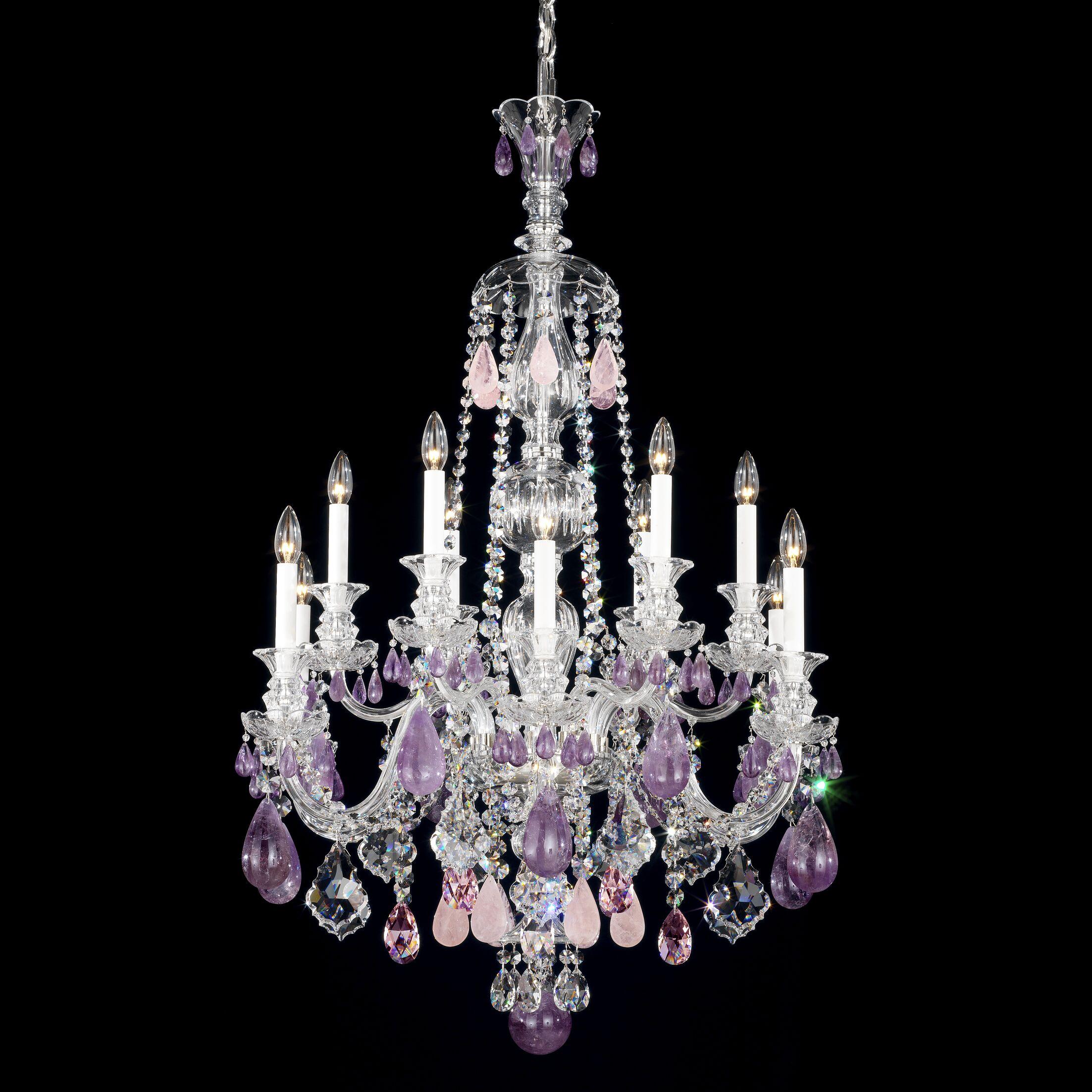 Hamilton 12-Light Chandelier Color / Crystal Color: Silver / Clear Rock
