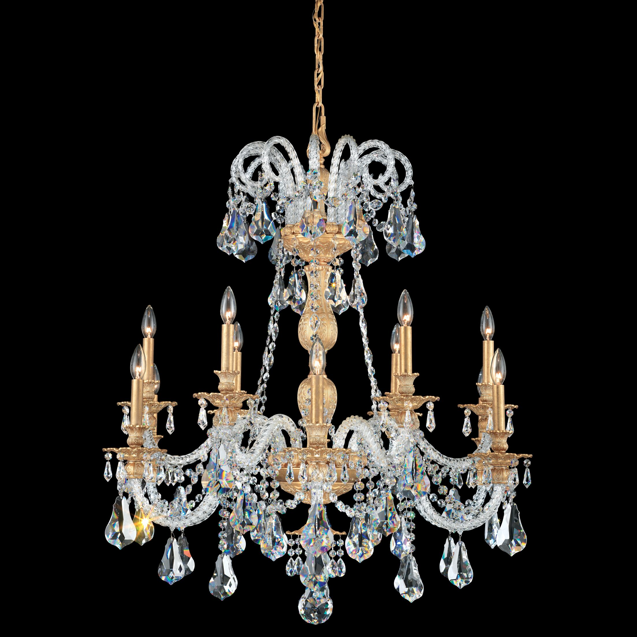 Isabelle 12-Light Chandelier Crystal Type: Optic Handcut Clear, Finish: Midnight Gild