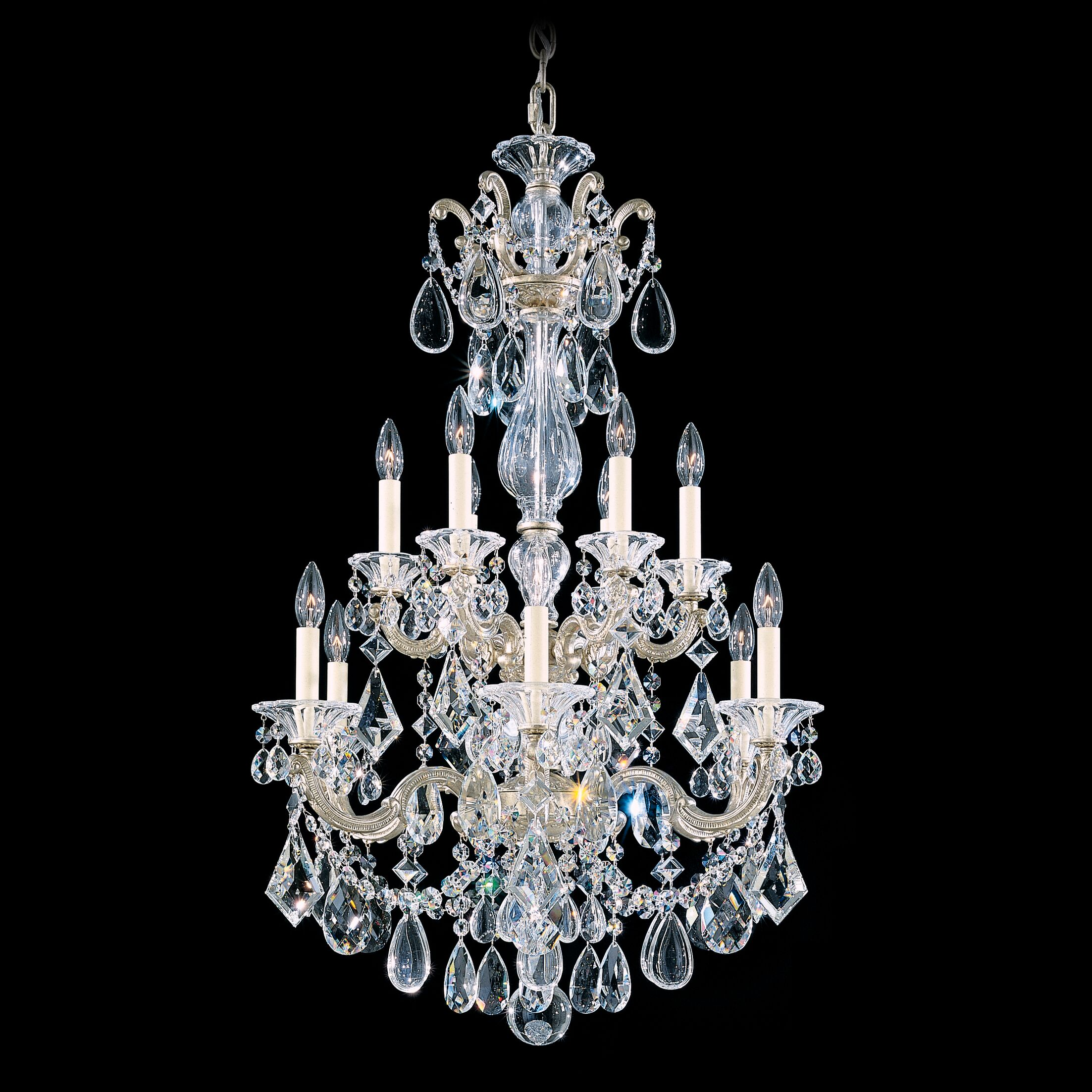 La Scala 12-Light Chandelier Finish / Crystal Color: Antique Silver / Strass Clear