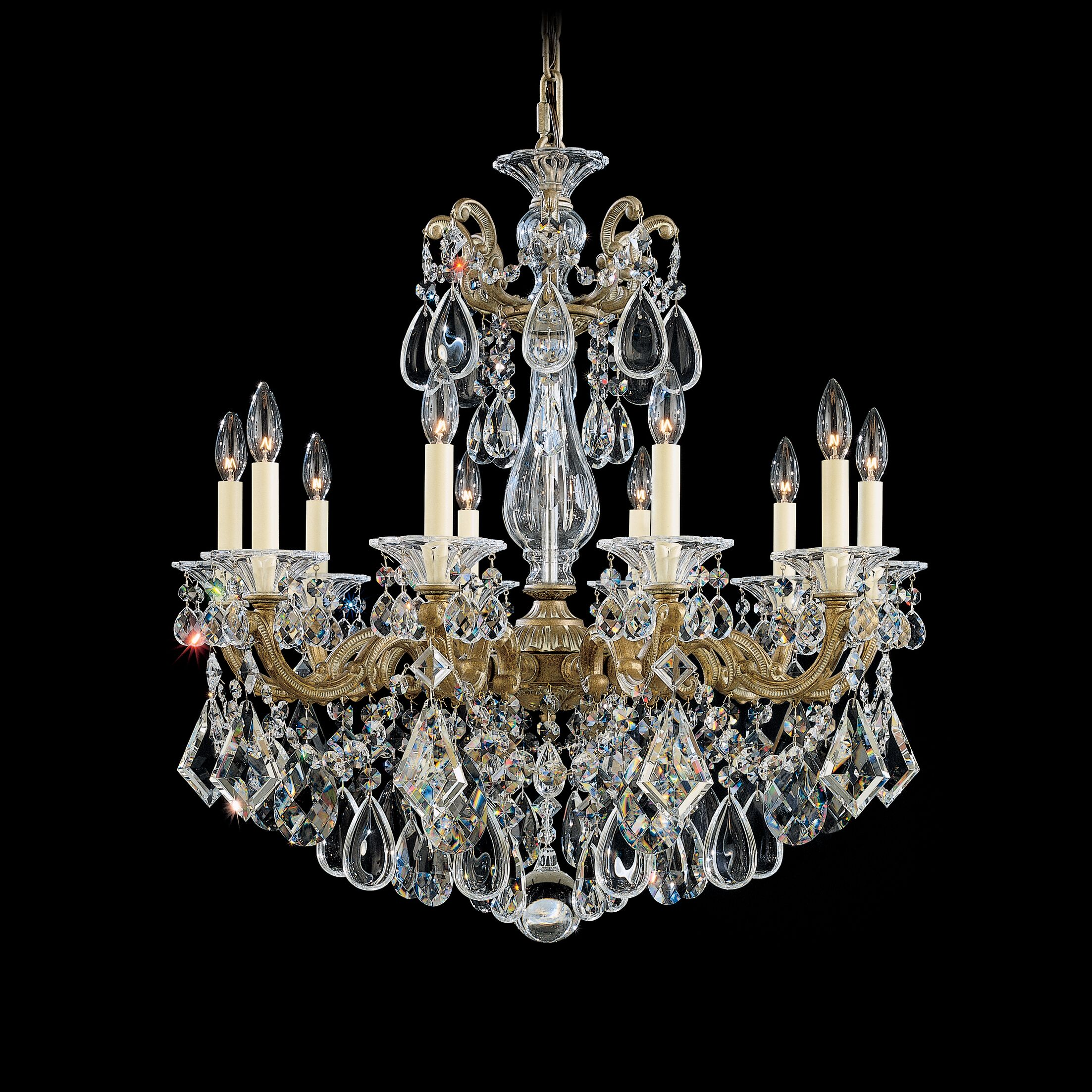La Scala 10-Light Chandelier Finish / Crystal Color: Parchment Bronze / Handcut Clear