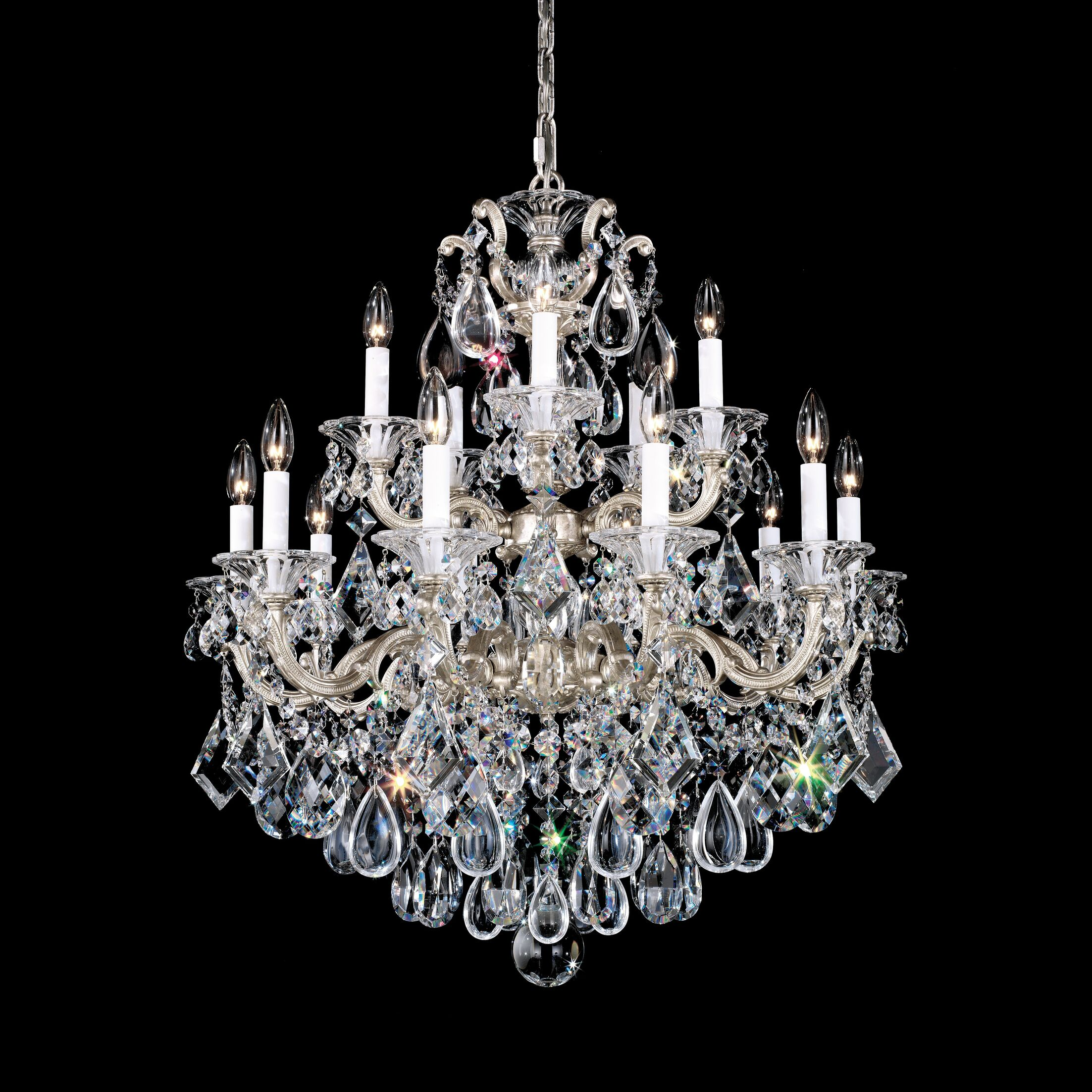 La Scala 15-Light Chandelier Finish / Crystal Color: Parchment Gold / Handcut Clear
