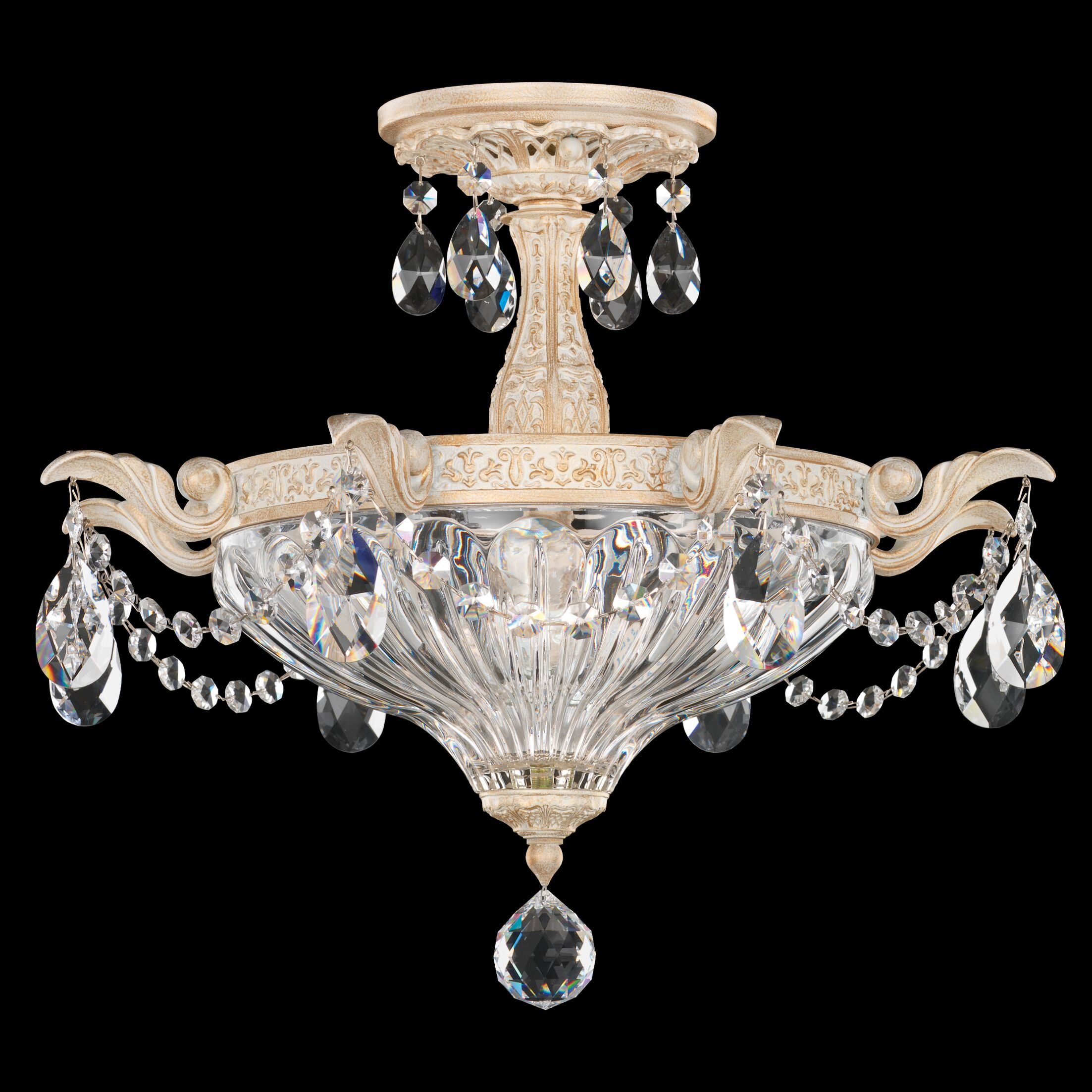 Milano 2-Light Semi Flush Mount Finish: Heirloom Bronze, Crystal Type: Strass Golden Shadow