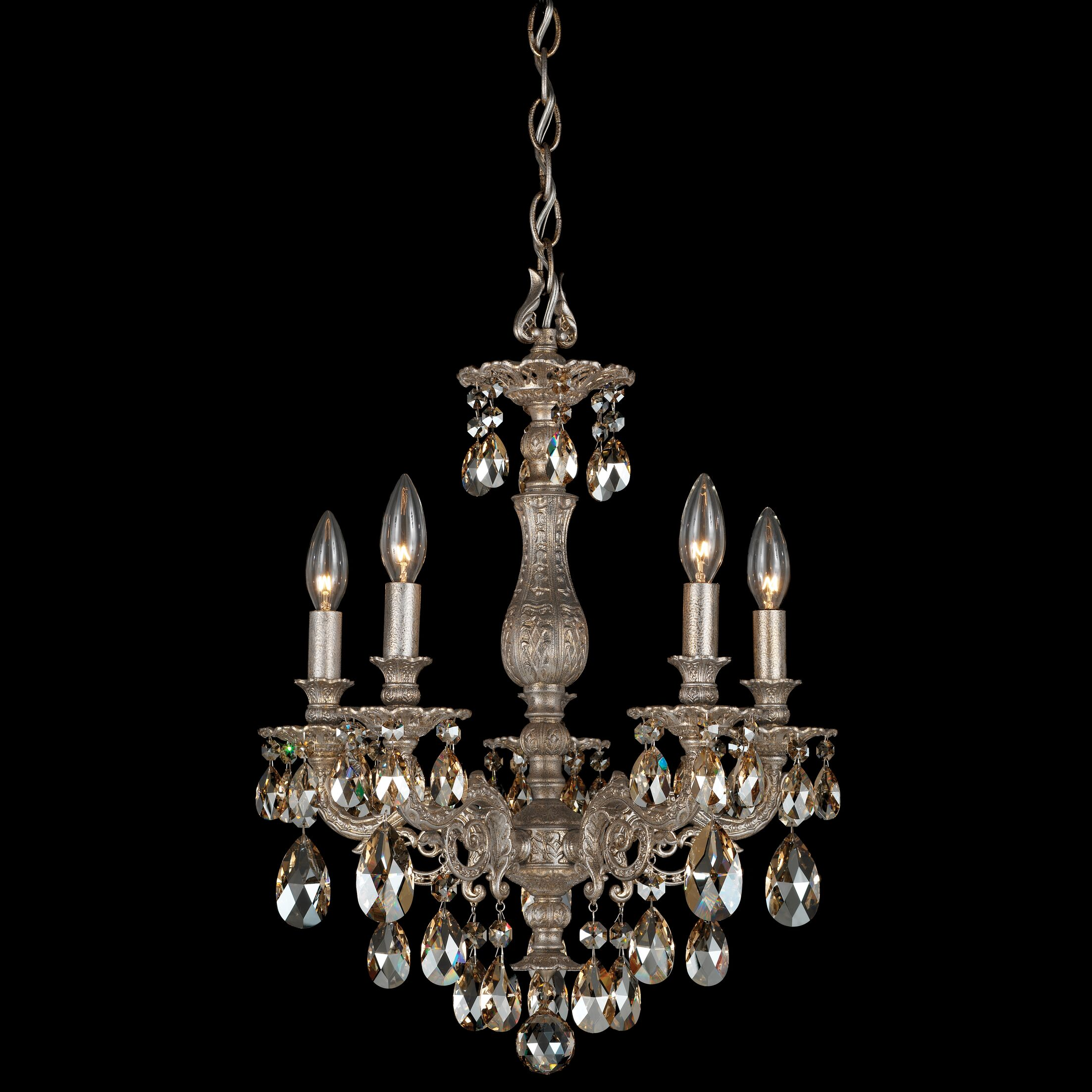 Milano 5-Light Chandelier Finish: Antique Silver, Crystal Color: Strass Silver Shade