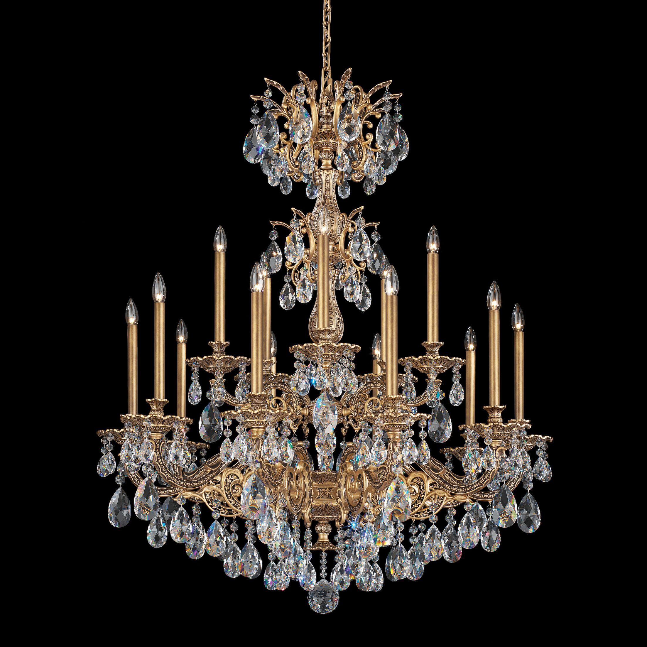 Milano 15-Light Chandelier Crystal Type: Optic Clear, Finish: Heirloom Bronze