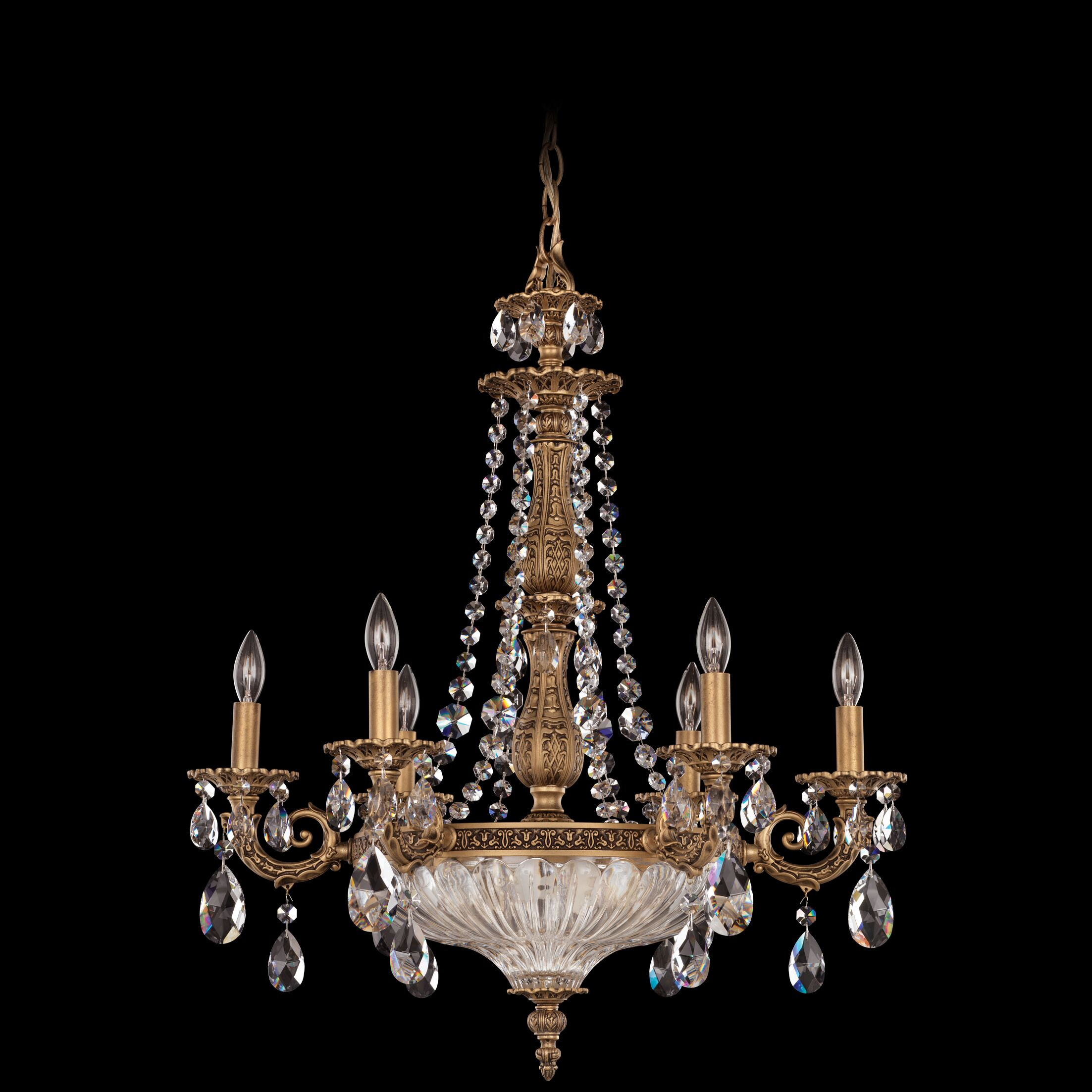 Milano 9-Light Chandelier Crystal Type: Optic Clear, Finish: Heirloom Bronze