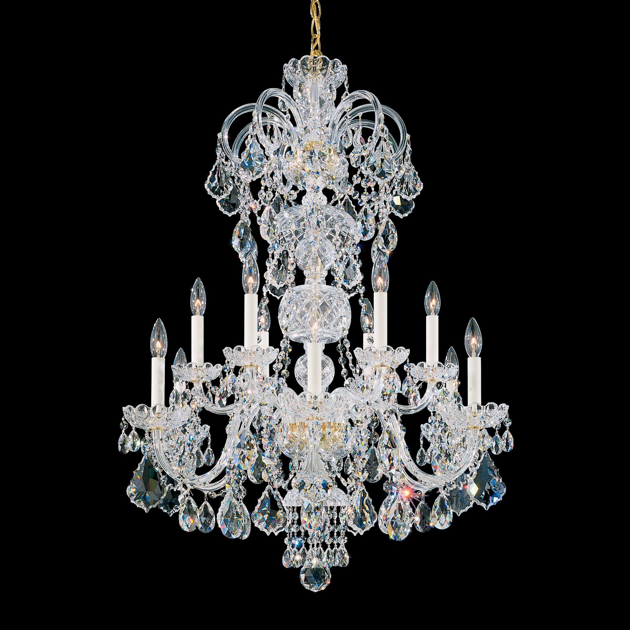 Olde World 12-Light Chandelier Finish: Aurelia, Crystal Color: Spectra Crystal Clear
