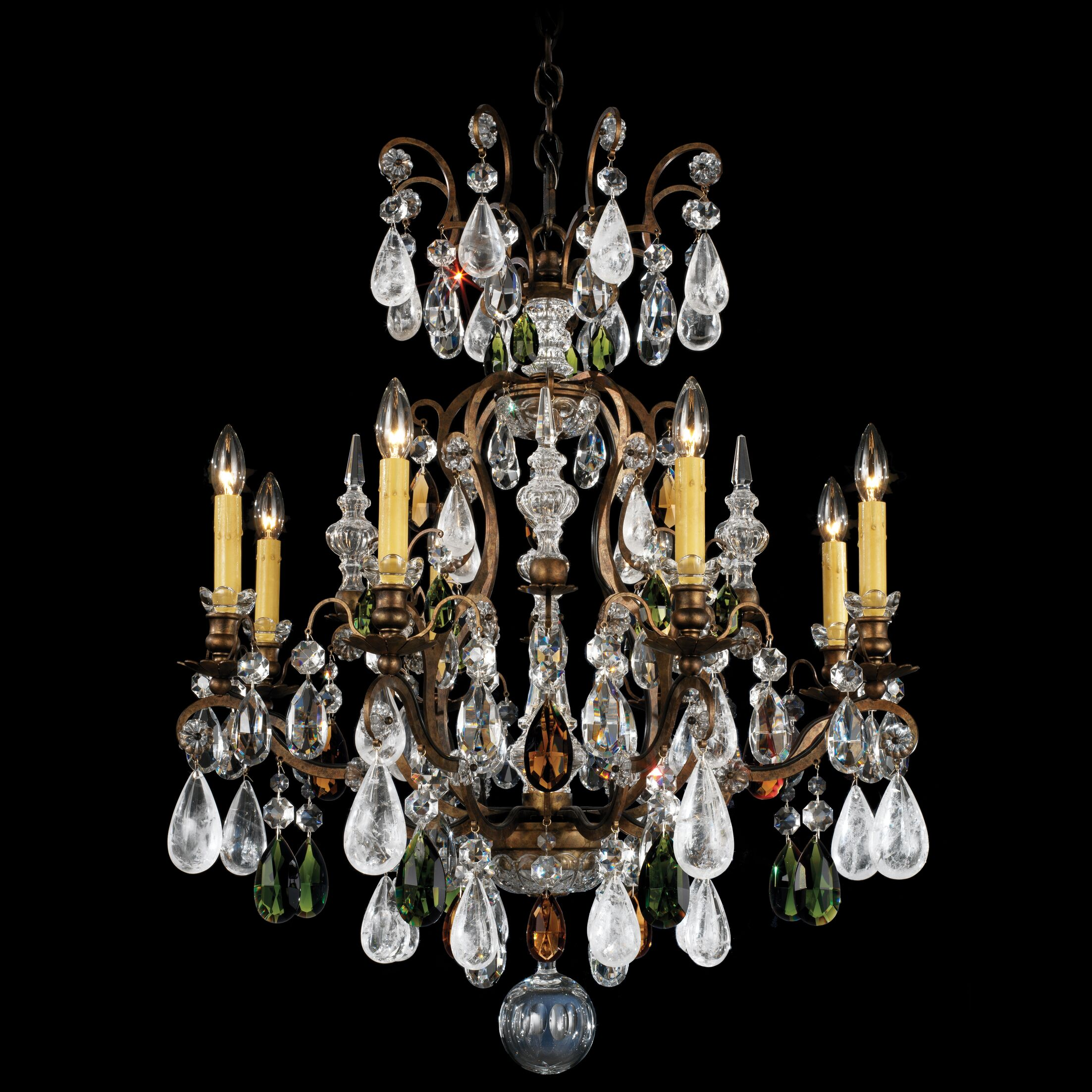 Renaissance Rock 8-Light Chandelier Finish: Heirloom Gold, Crystal Color: Combination of Olive and Smoke