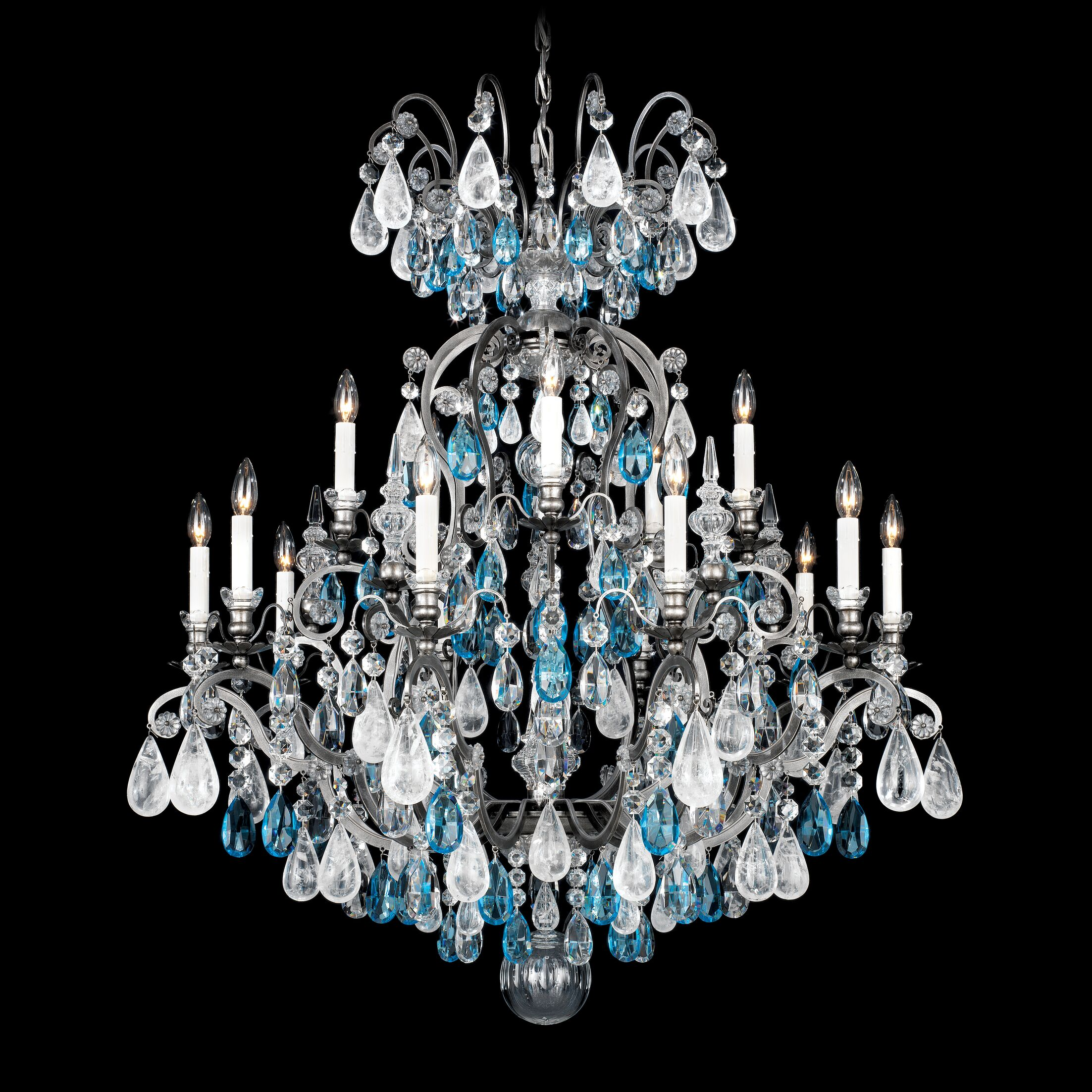 Renaissance Rock 15-Light Chandelier Finish: Etruscan Gold, Crystal Color: Combination of Olive and Smoke